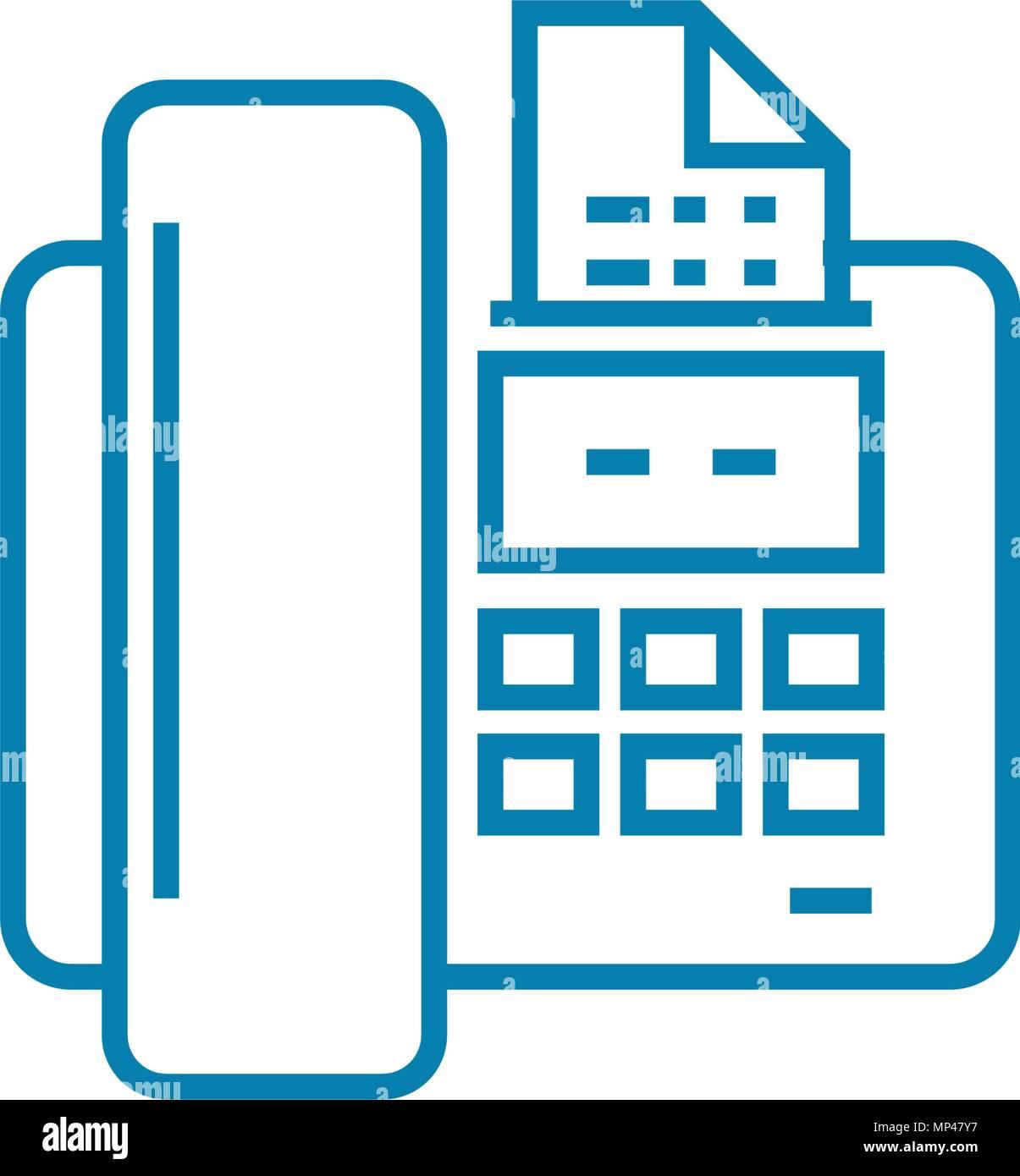 Sending a fax linear icon concept. Sending a fax line vector sign, symbol, illustration. - Stock Vector