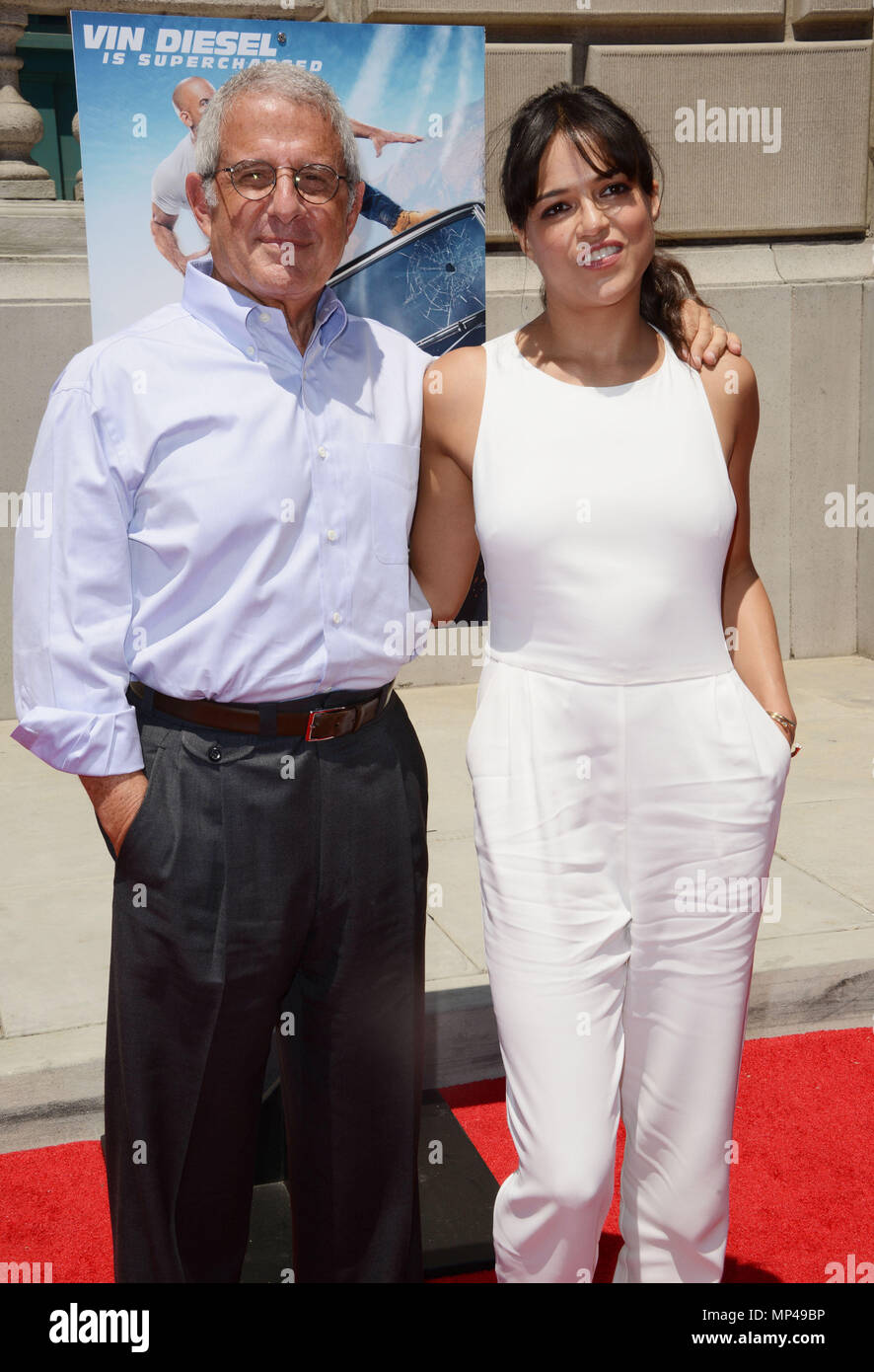 Michelle Rodriguez And Ron Meyer 107 At The Fast Furious Supercharged Ride Opening At The Universal Studios June 23 2015michelle Rodriguez And Ron Meyer 107 Red Carpet Event Vertical