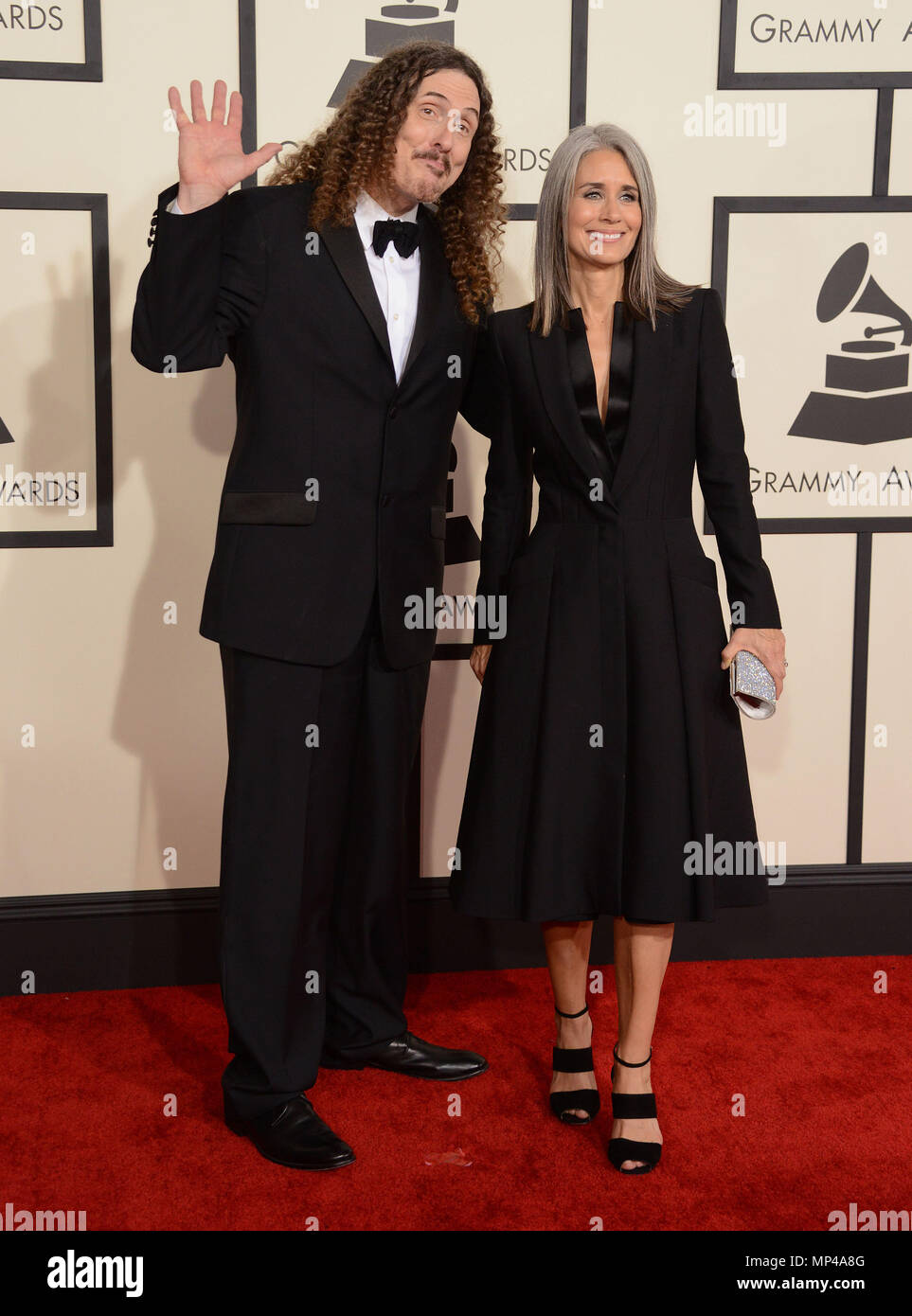 Weird Al Yankovic Suzanne Krajewski At The 57th Annual Grammy Awards At The Staples Center In Los Angeles February 8 2015 Weird Al Yankovic Suzanne Krajewski Red Carpet Event Vertical Usa Film