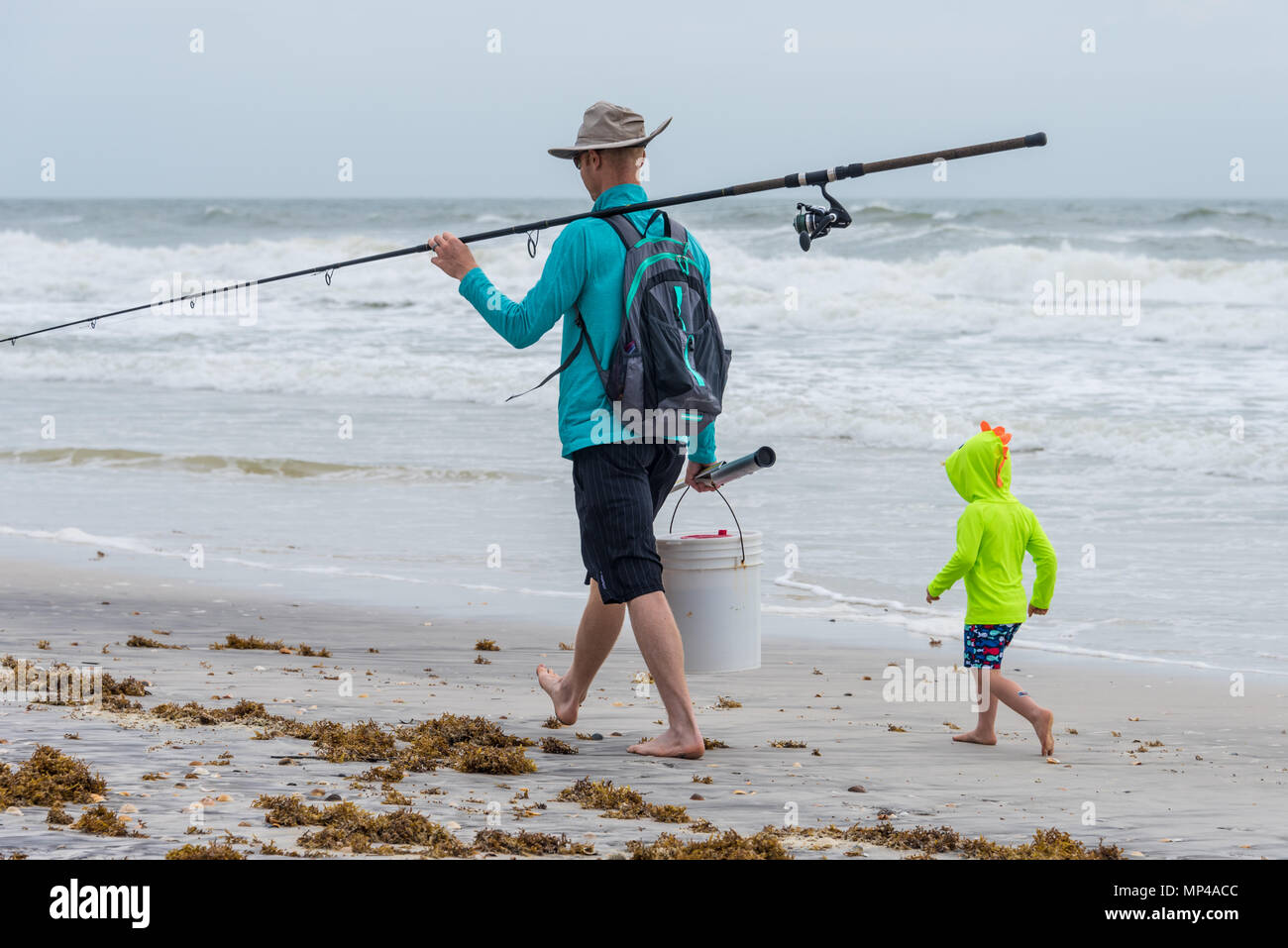 Father and son going surf fishing in Ponte Vedra Beach near Jacksonville, Florida. (USA) Stock Photo
