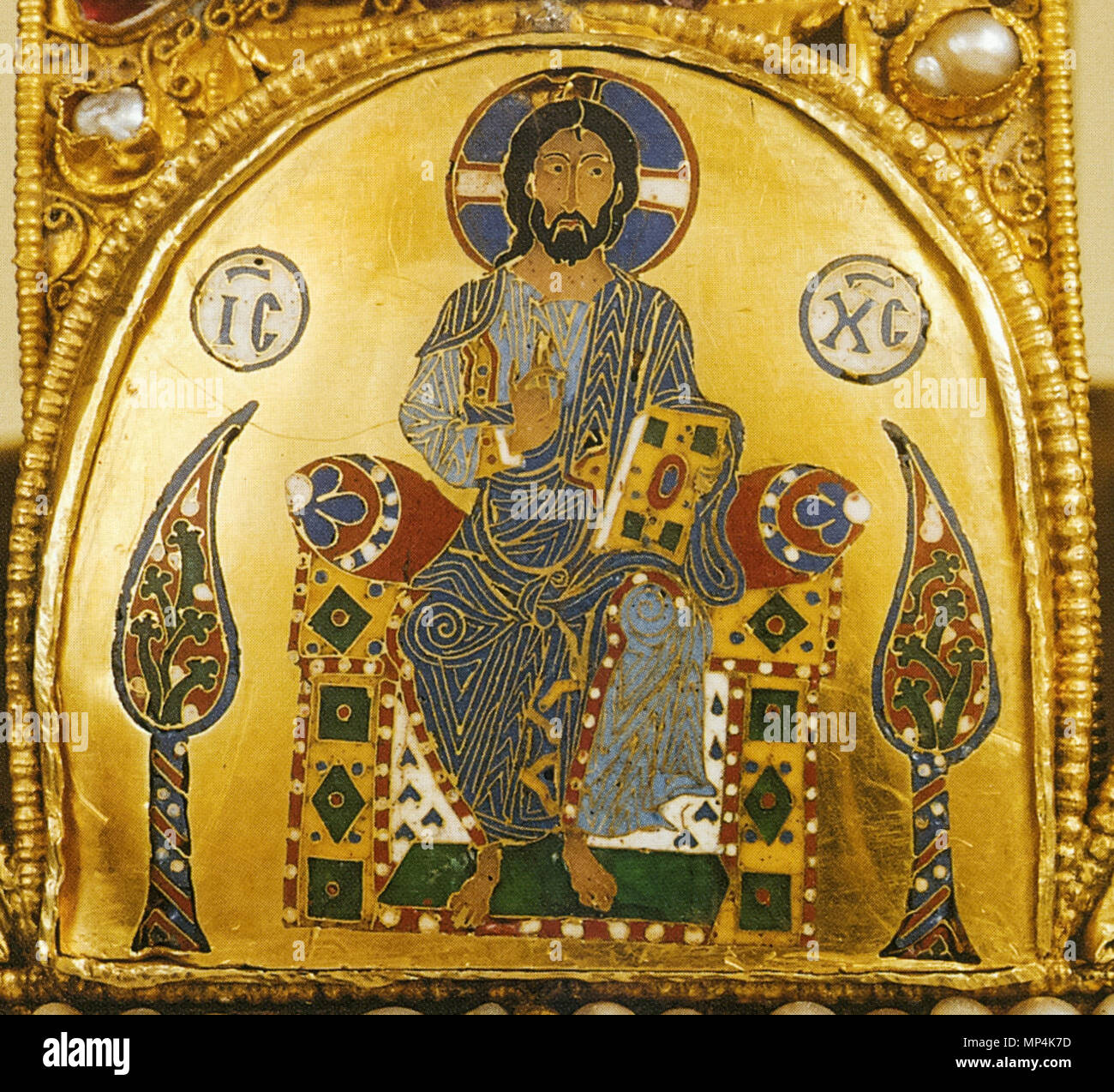 Christ Pantocrator on the Holy Crown of Hungary   11th century.   1174 The Greek Pantokrator on the Hungarian Holy Crown Stock Photo