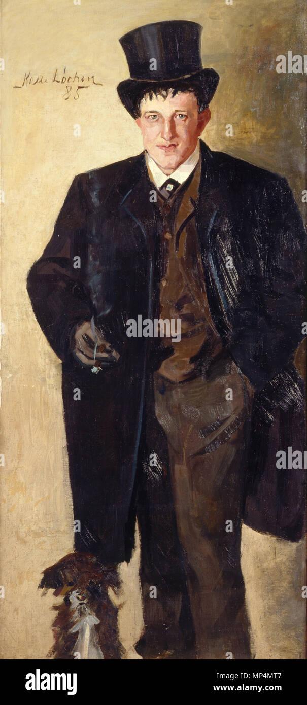 Karl Loechen (1865-1893),  Size: 146x68 cm, Location: Private, 815 Løchen-Selvportrett-1885 - Stock Image