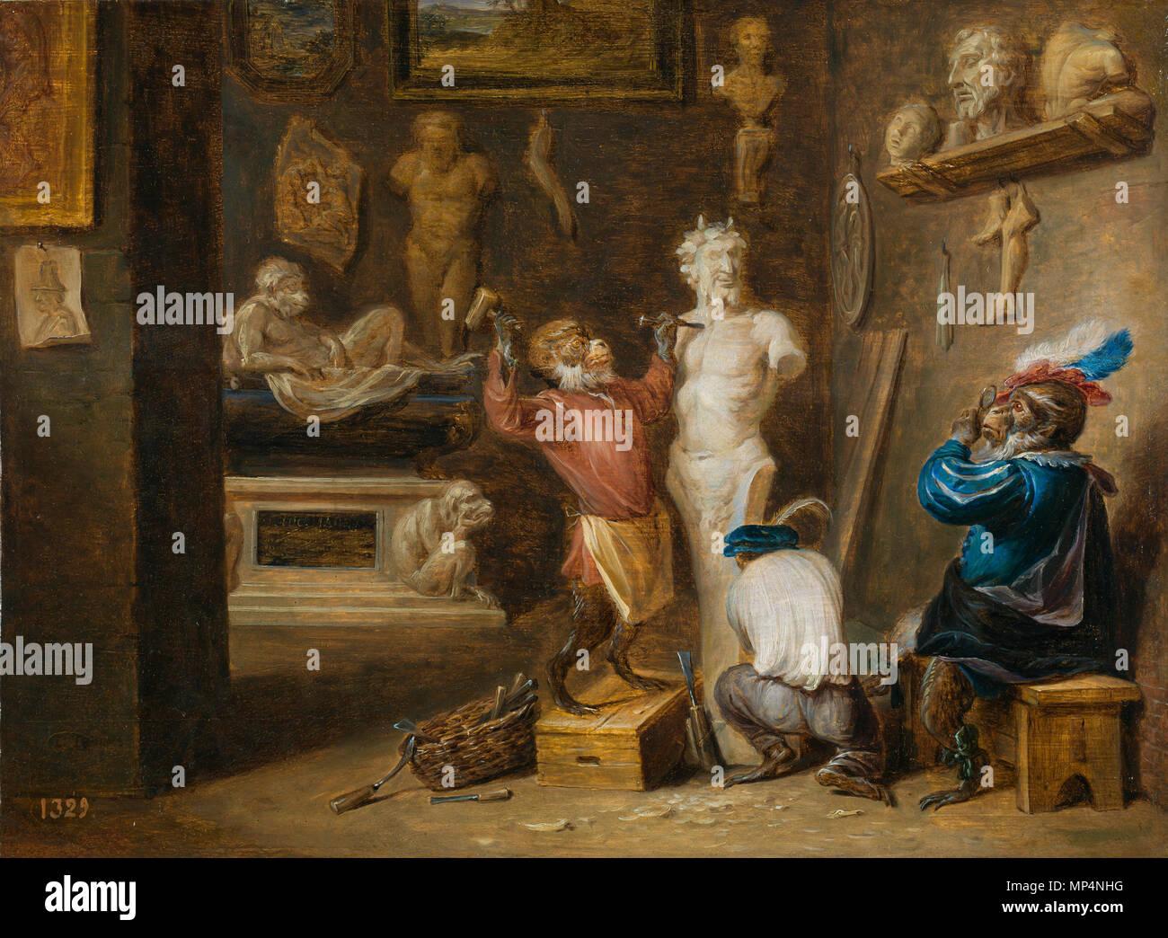 The Monkey Sculptor . Spanish: El mono escultor . circa 1660.   1165 Teniers-mono escultor - Stock Image