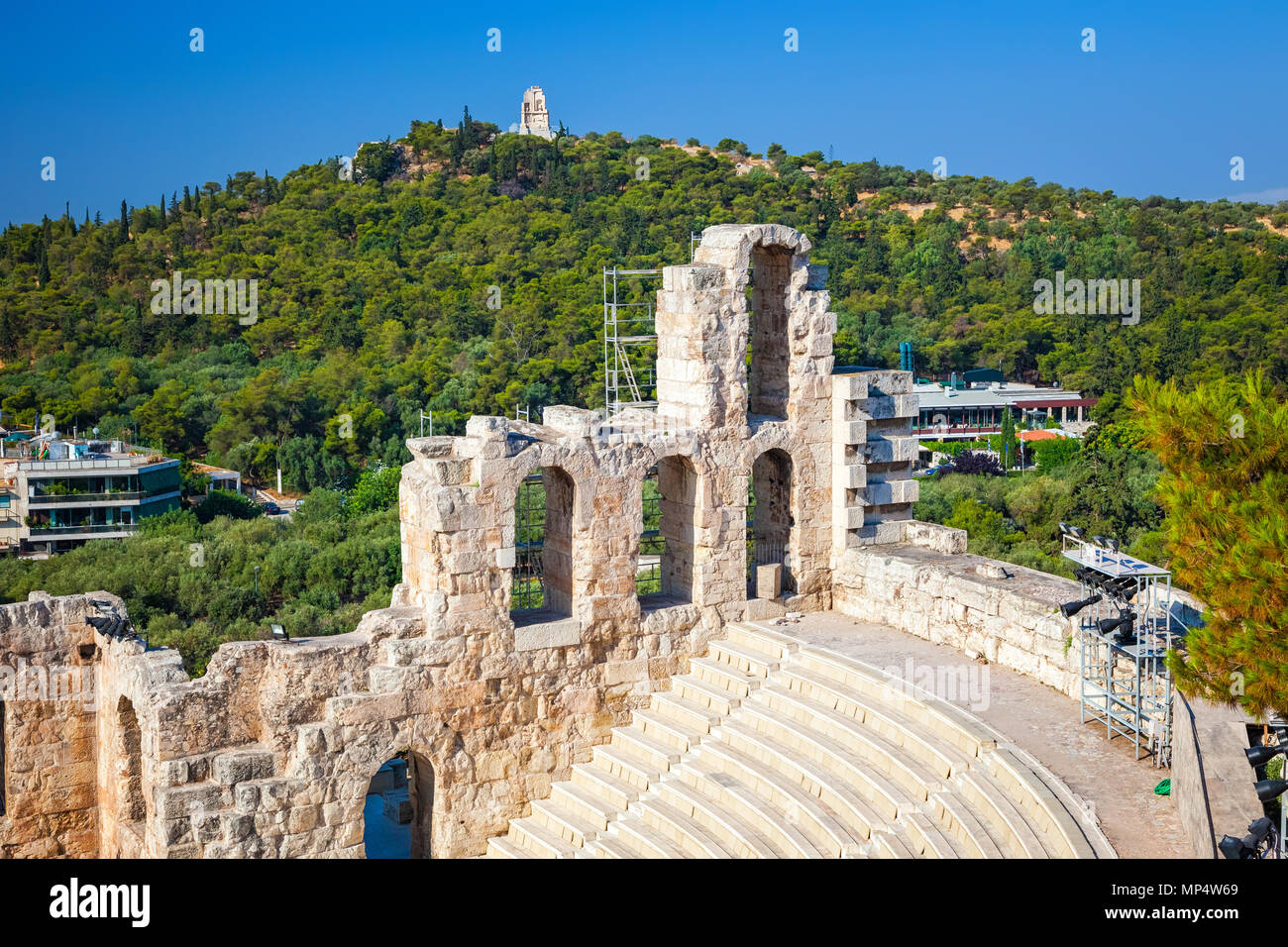 Odeon of Herodes Atticus in Acropolis of Athens - Stock Image