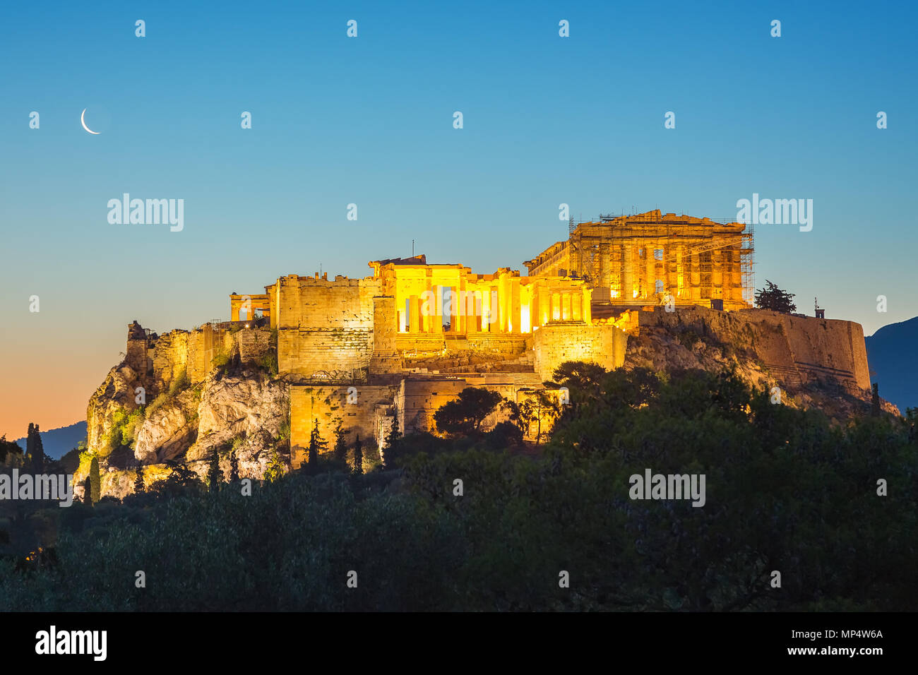 Sunrise over Parthenon, Acropolis of Athens, Greece - Stock Image