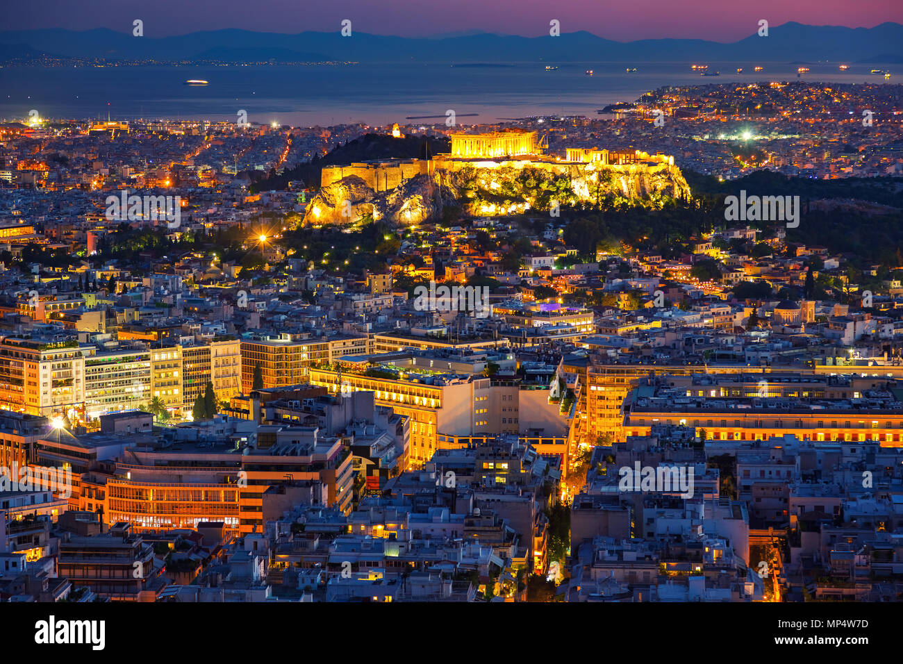 Aerial view on Athens, Greece at sunset Stock Photo