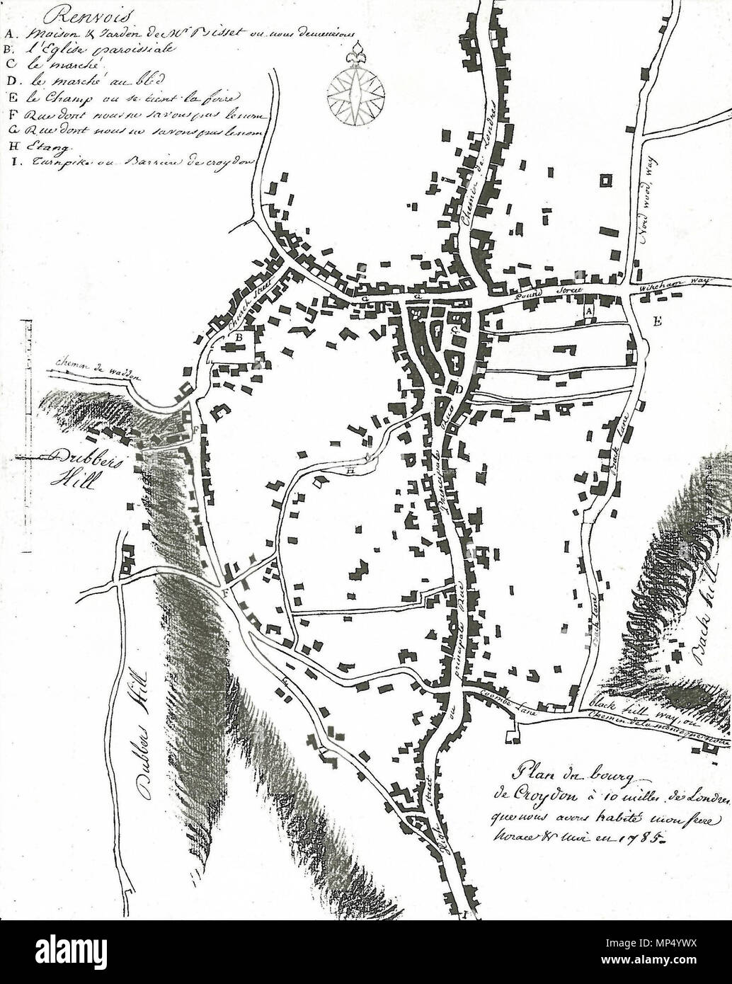 . English: Plan of the town of Croydon drawn by Jean-Baptiste Say (1767–1832) in 1785. Marked locations include: A - house of Alexander Bisset where Say and his brother stayed; B - parish church; C - market; D - cornmarket; E - Fairfield; F & G unnamed roads; H - pond; I - turnpike gate. Location of original: Croydon Archives AR 47/1. 1785. Jean-Baptiste Say (1767–1832) 1098 Say map Stock Photo