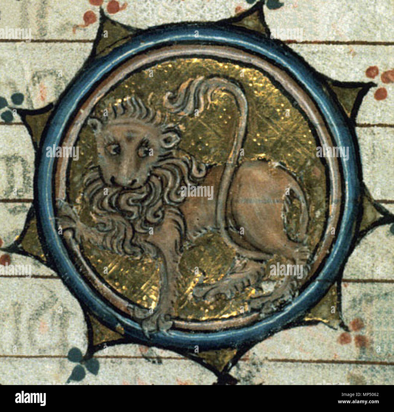 . English: Detail of the calendar page for July in the Breviary of Renaud de Bar, with roundels of a man reaping and the lion of Leo. March 1302. Unknown 812 Lion of Leo - Stock Image