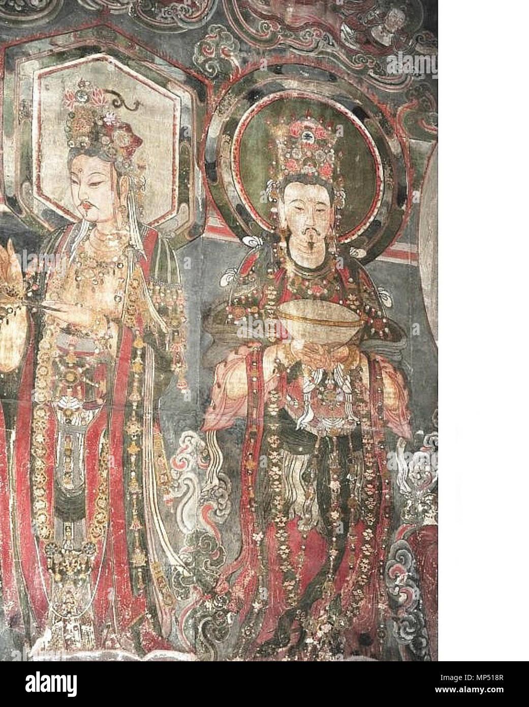 . English: Kin Dynasty (1115-1234) fresco in the Temple of Adoring Bliss (Ch'ung-fu Temple), Shuo-chou, Shansi. Español: Fresco en el Templo de la Adoración de la Prosperidad (Templo Ch'ung-fu), dinastía Kin (1115-1234), Shuo-chóu, Shansí. 5 October 2013, 05:00:11. Unknown artist of Kin Dynasty (1115-1234) 765 Kin Dynasty (1115-1234) fresco in Ch'ung-fu Temple, Shuo-chou 18 - Stock Image