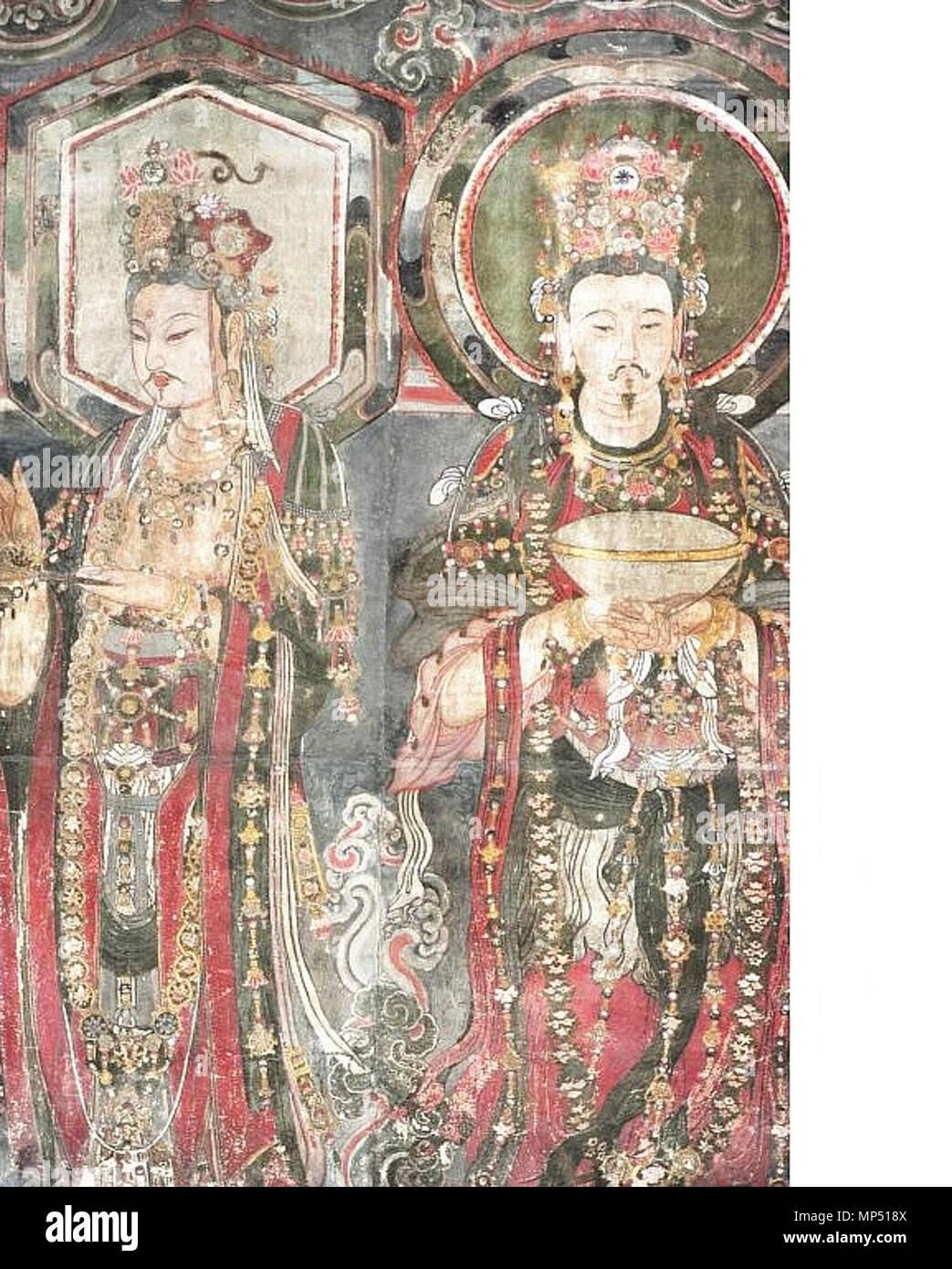 . English: Kin Dynasty (1115-1234) fresco in the Temple of Adoring Bliss (Ch'ung-fu Temple), Shuo-chou, Shansi. Español: Fresco en el Templo de la Adoración de la Prosperidad (Templo Ch'ung-fu), dinastía Kin (1115-1234), Shuo-chóu, Shansí. 5 October 2013, 05:11:29. Unknown artist of Kin Dynasty (1115-1234) 765 Kin Dynasty (1115-1234) fresco in Ch'ung-fu Temple, Shuo-chou 13 - Stock Image