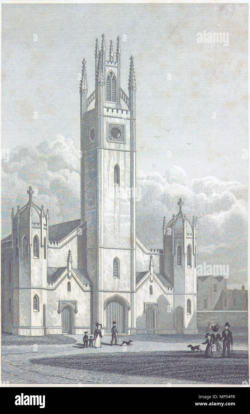 . English: The west front of the parish church of St Mary, Haggerston, London. This engraving after Thomas Hosmer Shepherd was published in TH Shepherd and James Elmes' Metropolitan Improvements (1828). 17 December 2013, 03:33:24. Thomas Hosmer Shepherd 1137 St Mary Haggerston Stock Photo