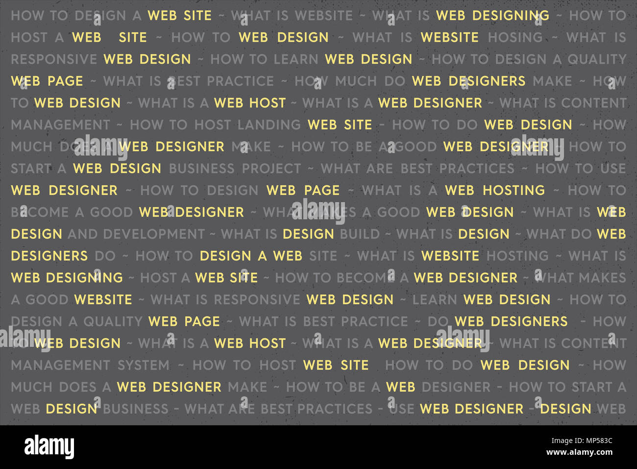 Yellow Web Design Keywords Poster Concept Web Network Working Text With Highlighted Yellow Key Words Internet Technology Conceptual Creative On Gray Stock Photo Alamy