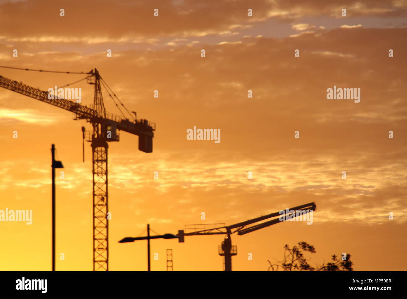 Construction Cranes at Sunset, Gold Coast, Australia - Stock Image