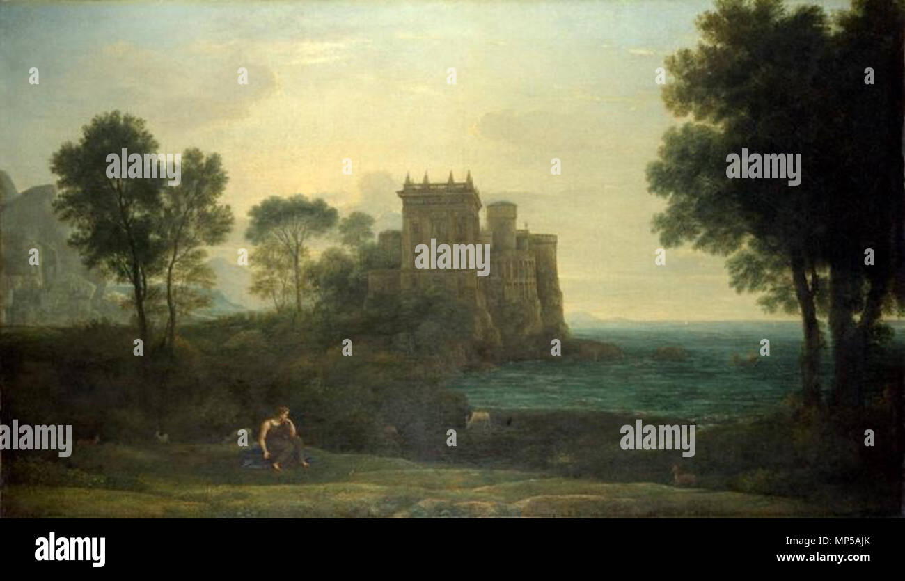 .  English: Landscape with Psyche Outside the Palace of Cupid . 1664.    Claude Lorrain  (1604/1605–1682)     Alternative names Claude Gellée, dit « le Lorrain », Claude Gillée, Claudio Lorena, Claude Le Lorrain, Claude, Claudio, Claudius  Description Lorrainer painter, draughtsman and printmaker  Date of birth/death 1604 or 1605 23 November 1682  Location of birth/death Chamagne Rome  Work location Freiburg im Breisgau (1615-1617), Rome (1616-1617), Naples (1618), Venice (1625), Nancy (circa 1625-1627), Rome (1627-1682), Tivoli (1635)  Authority control  : Q214074 VIAF: 54156251 ISNI: 0000 00 Stock Photo