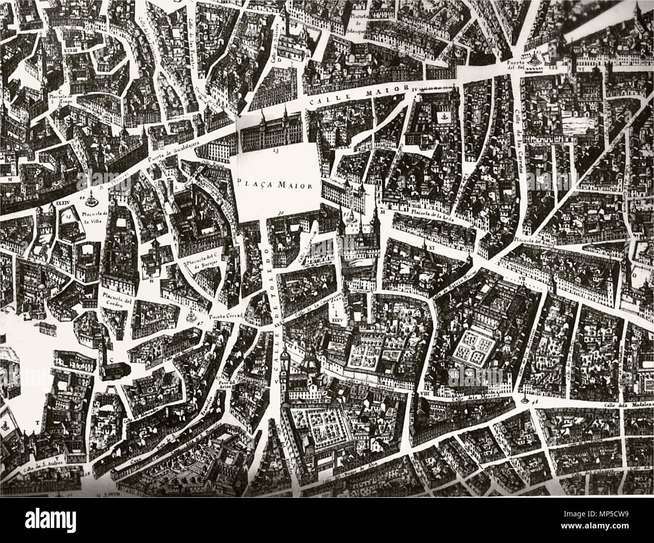 Mapa De Madrid Centro.English Map Of Madrid 1656 Detail By Pedro Texeira