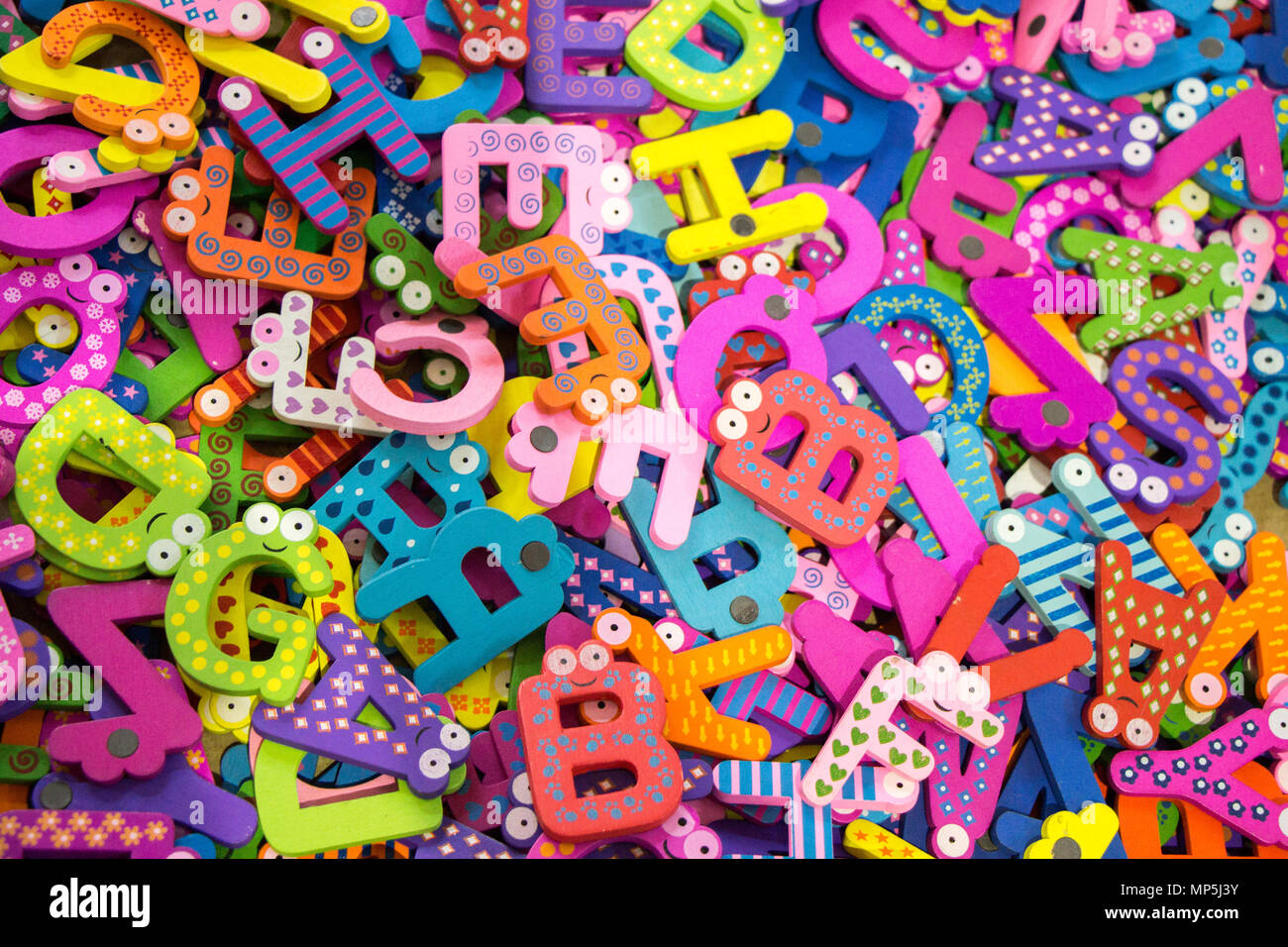 Colorful alphabet letter icons in stock in view Stock Photo ...