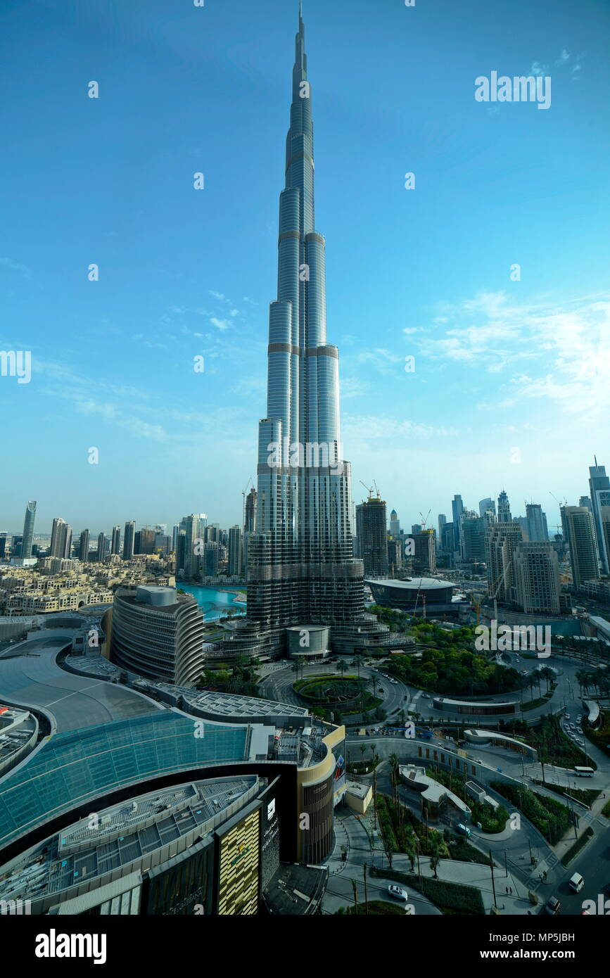 Dubai, United Arab Emirates - May 17, 2018: Sheikh Mohammed Bin Rashid Boulevard, Dubai Mall and Burj Khalifa are known as the Downtown Dubai, the tal - Stock Image