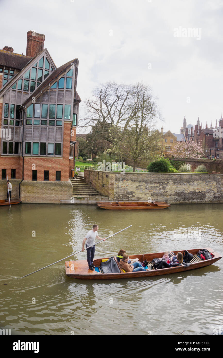 Punting tour in Cam River and Jerwood Library, Trinity Hall, College, Cambridge, England, UK - Stock Image