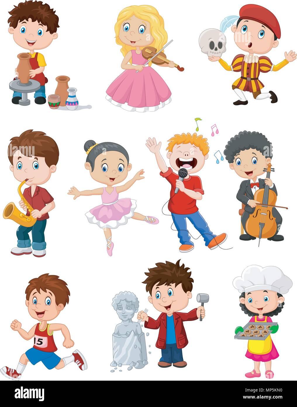 Cartoon kids with different hobbies - Stock Vector