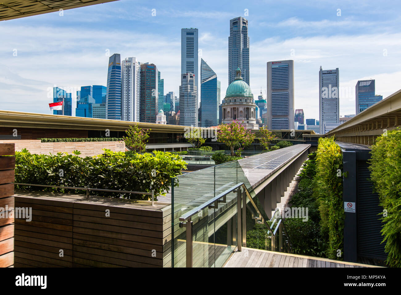 View of Singapore modern skyscrapers blend with the roof top of National Gallery Singapore Stock Photo