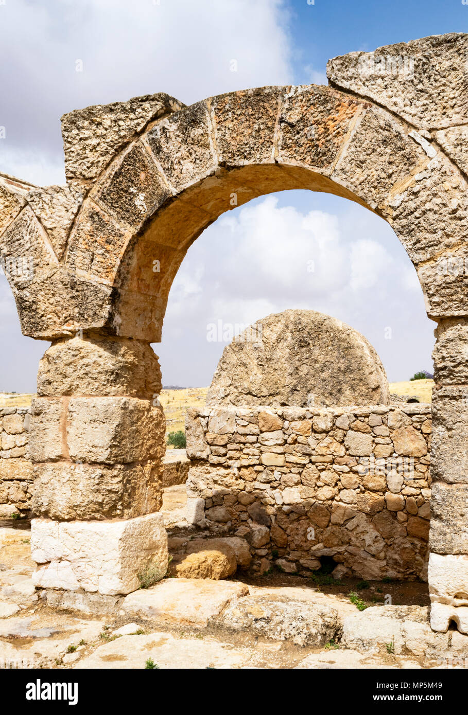 the massive rolling stone door of the ancient Susya synagogue viewed from the courtyard - Stock Image