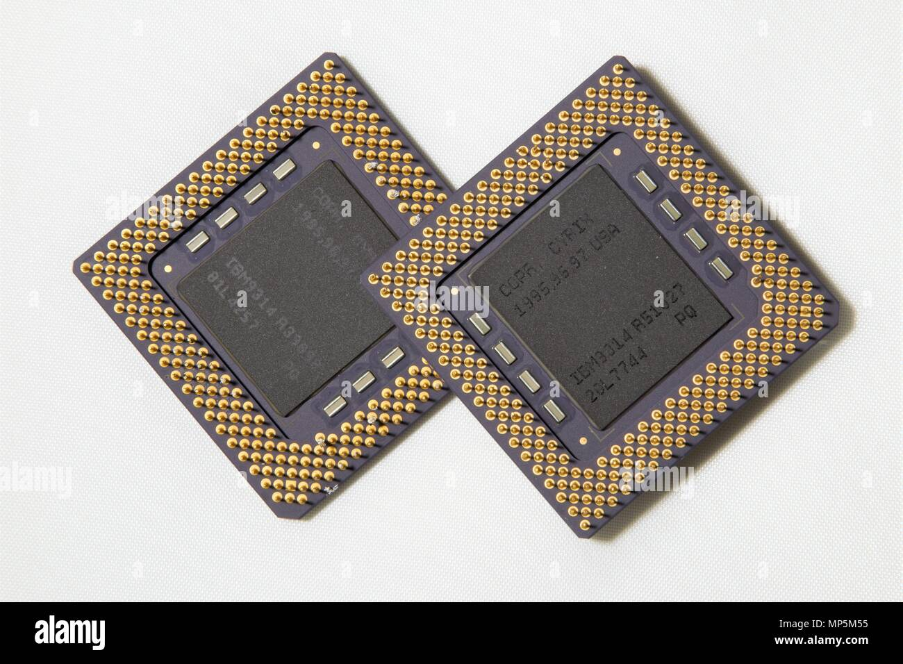 A computer processor on a white background, Bottom view from the pins side - Stock Image