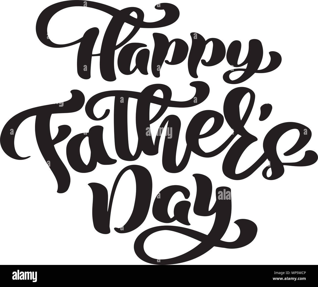 Happy Fathers Day Phrase Hand Drawn Lettering Fathers Quotes Vector