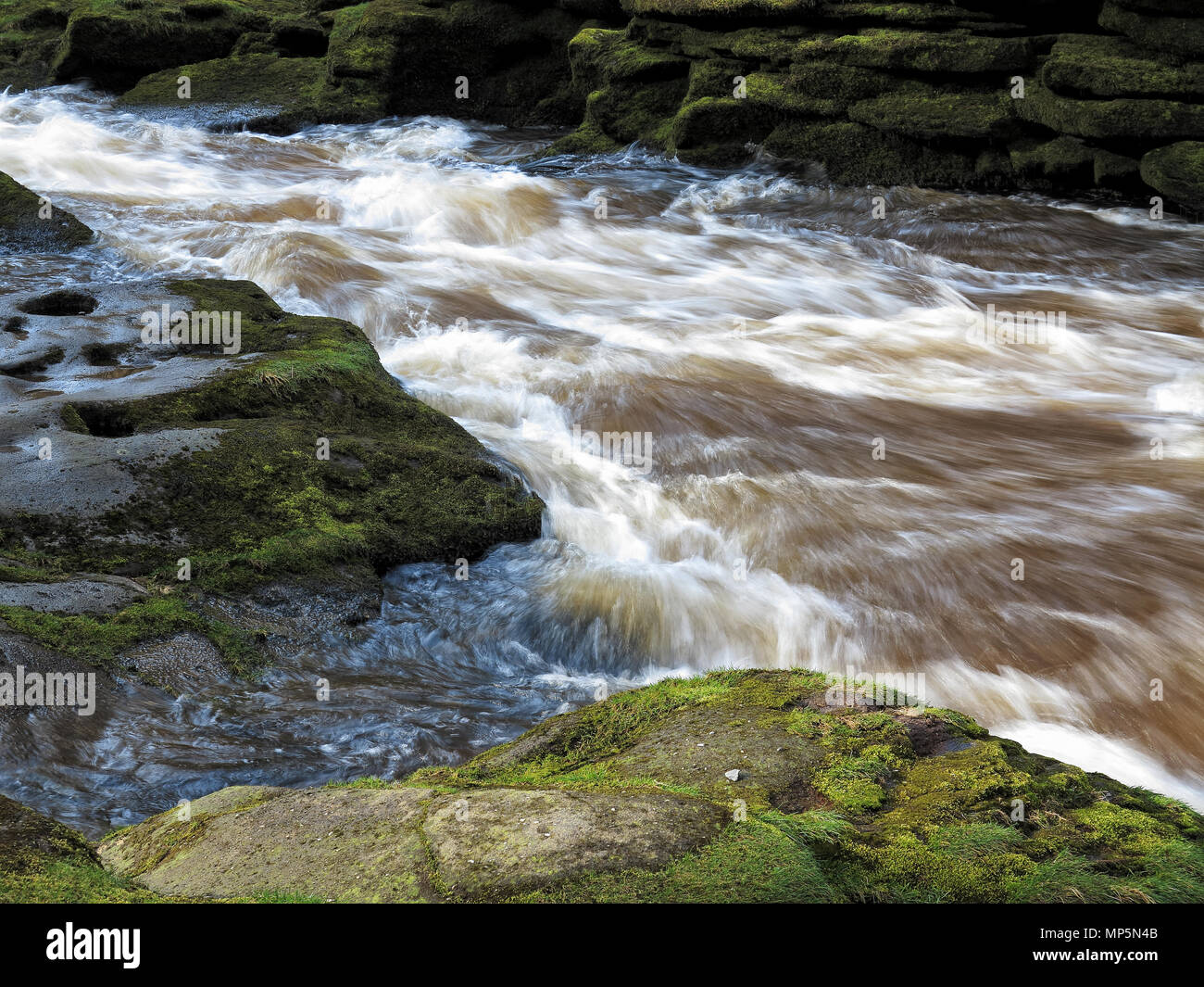 The swirling waters of The Strid, near Bolton Abbey, Yorkshire Dales - Stock Image