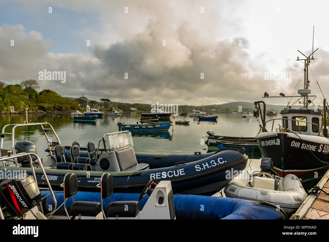 Moored boats in Schull Harbour, County Cork, Ireland with copy space. - Stock Image