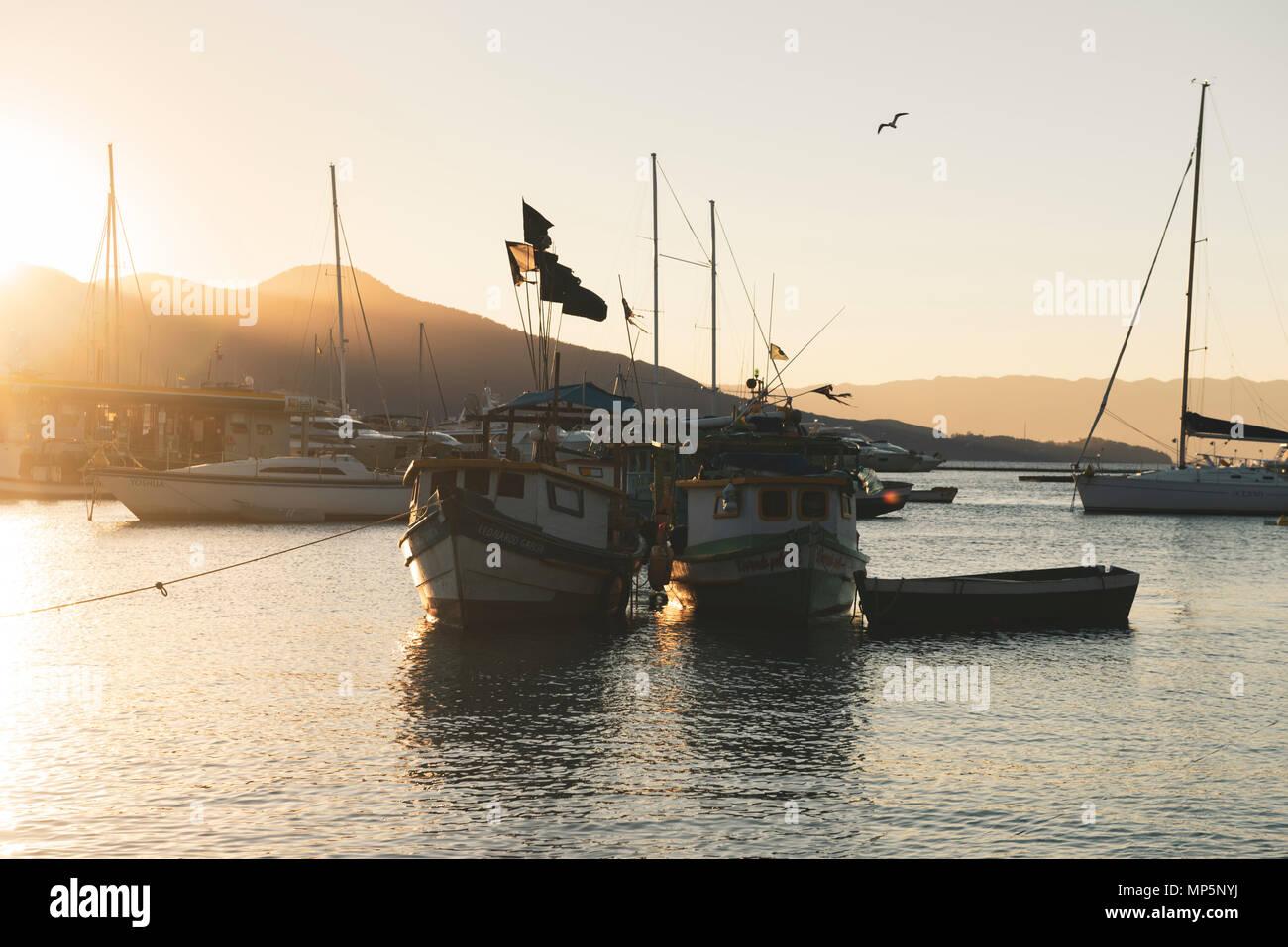 Fishing boats moored at Ilhabela, SE Brazil - Stock Image