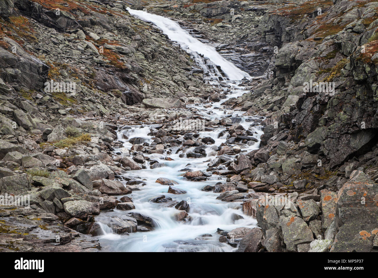 Cascade on the Videdola river seen from the Gamle Strynefjellsvegen Route, Norway. Stock Photo