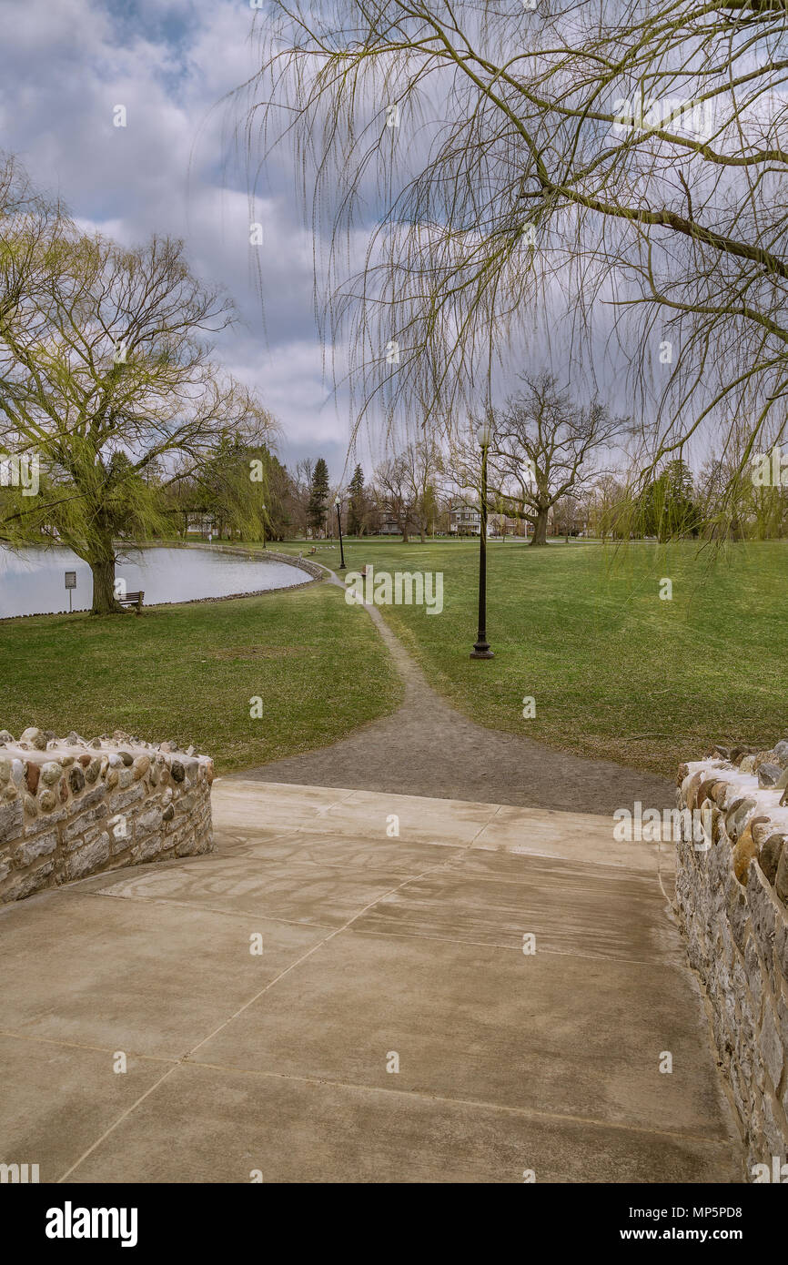 Leading line stands for a coming future, (Shot from Upper Onondaga Park) in The City of Syracuse in Upstate New York - Stock Image