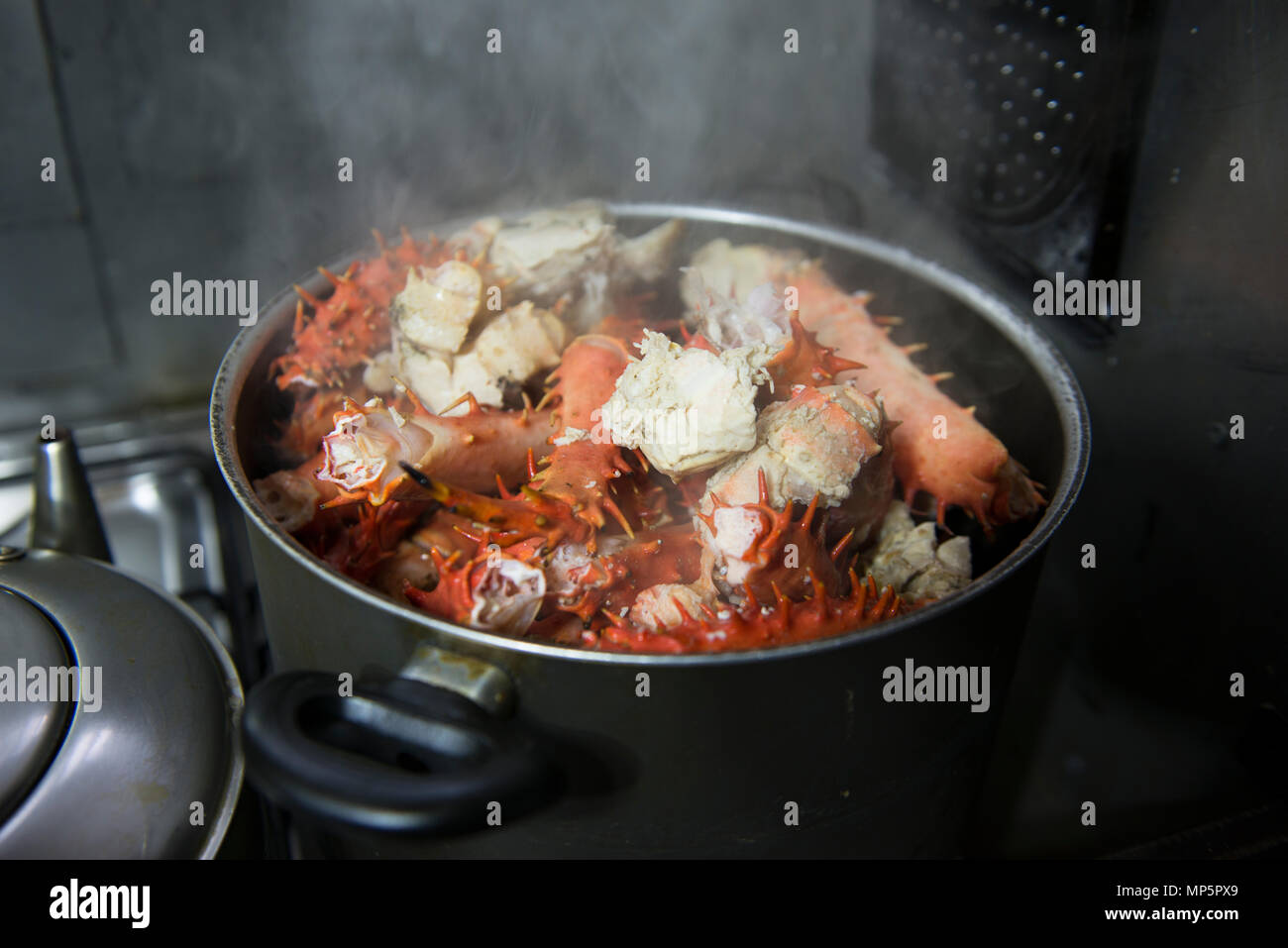 King crab legs cooking in a pan - Stock Image