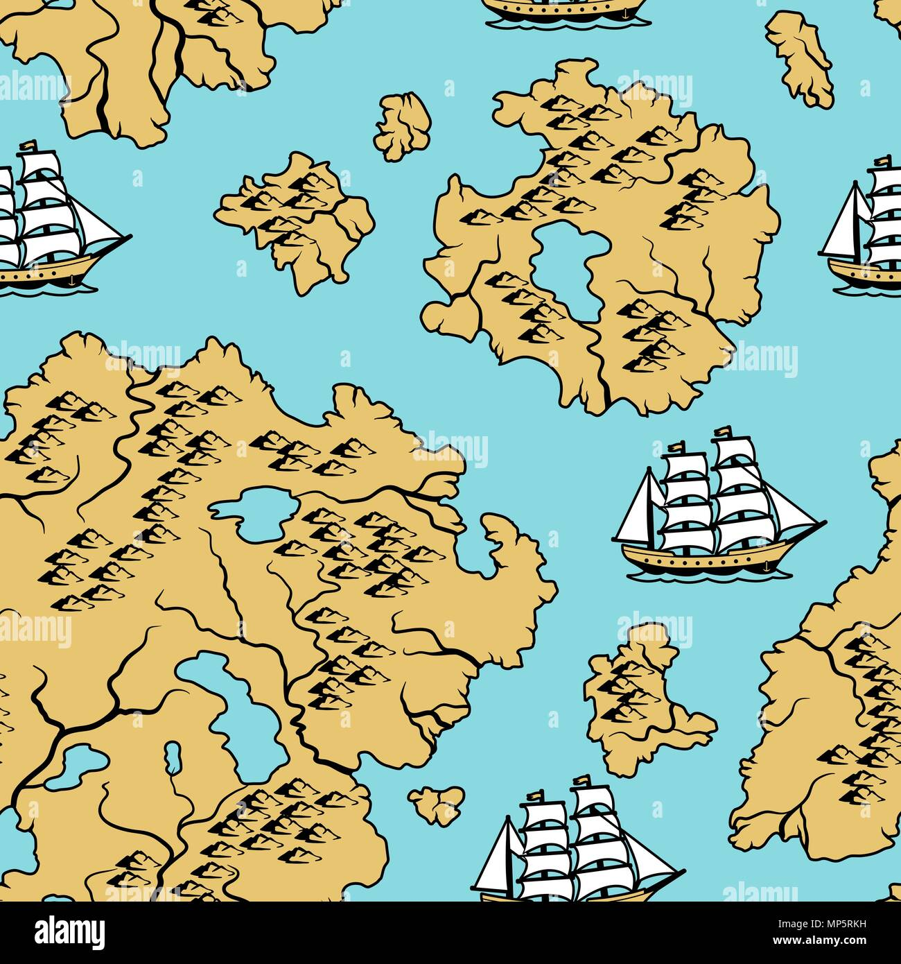 Seamless pattern with old nautical map. - Stock Vector