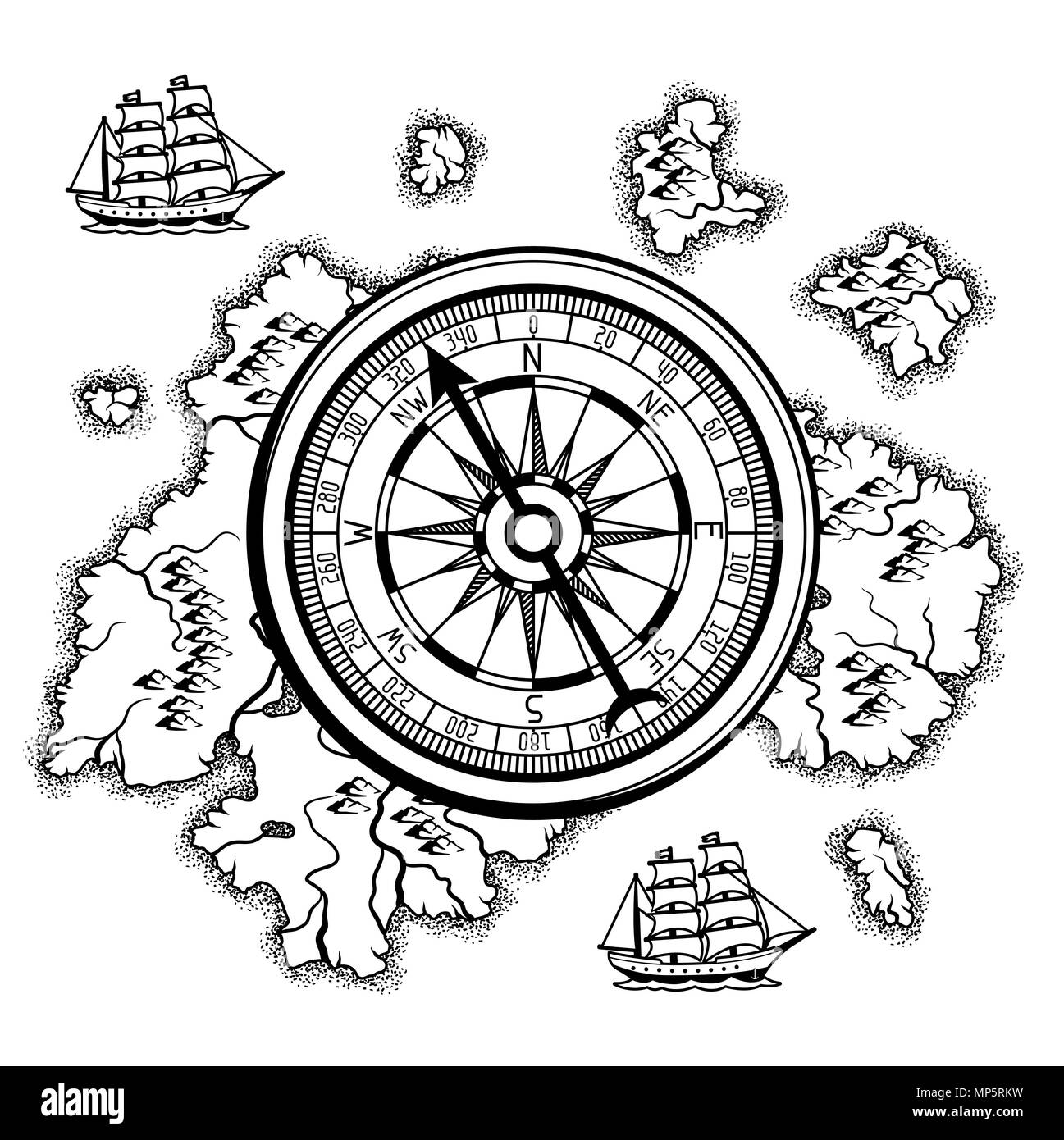 Background with old nautical map. - Stock Image