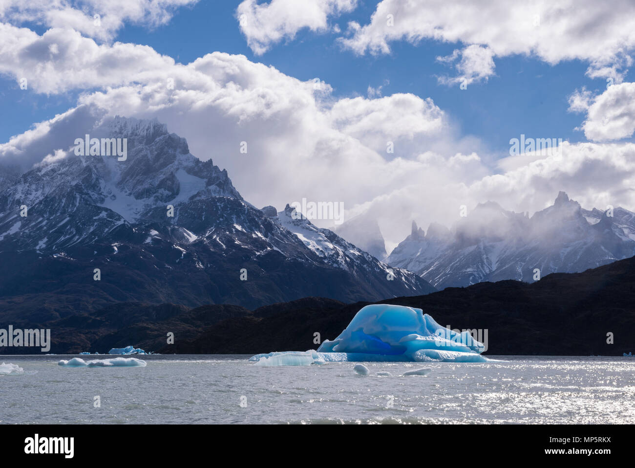 Iceberg at Grey Lake, Torres del Paine, Chile - Stock Image