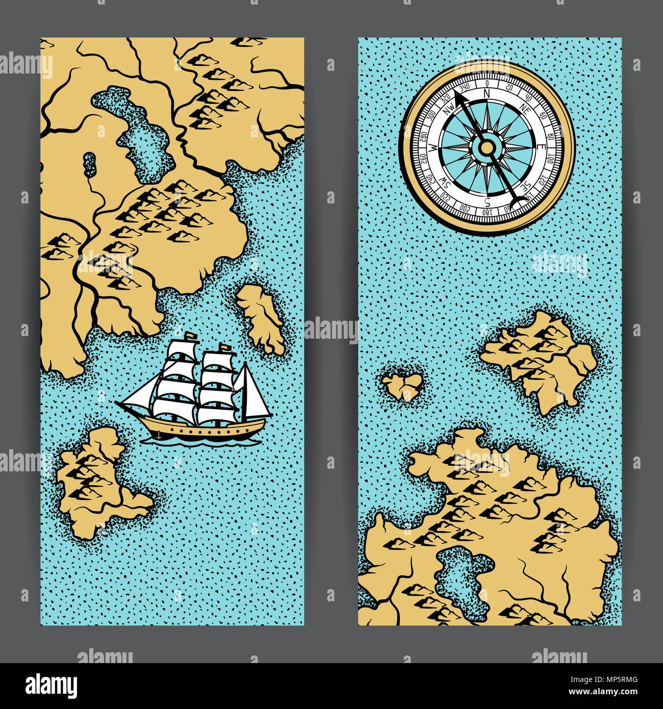 Banners with old nautical map. - Stock Vector