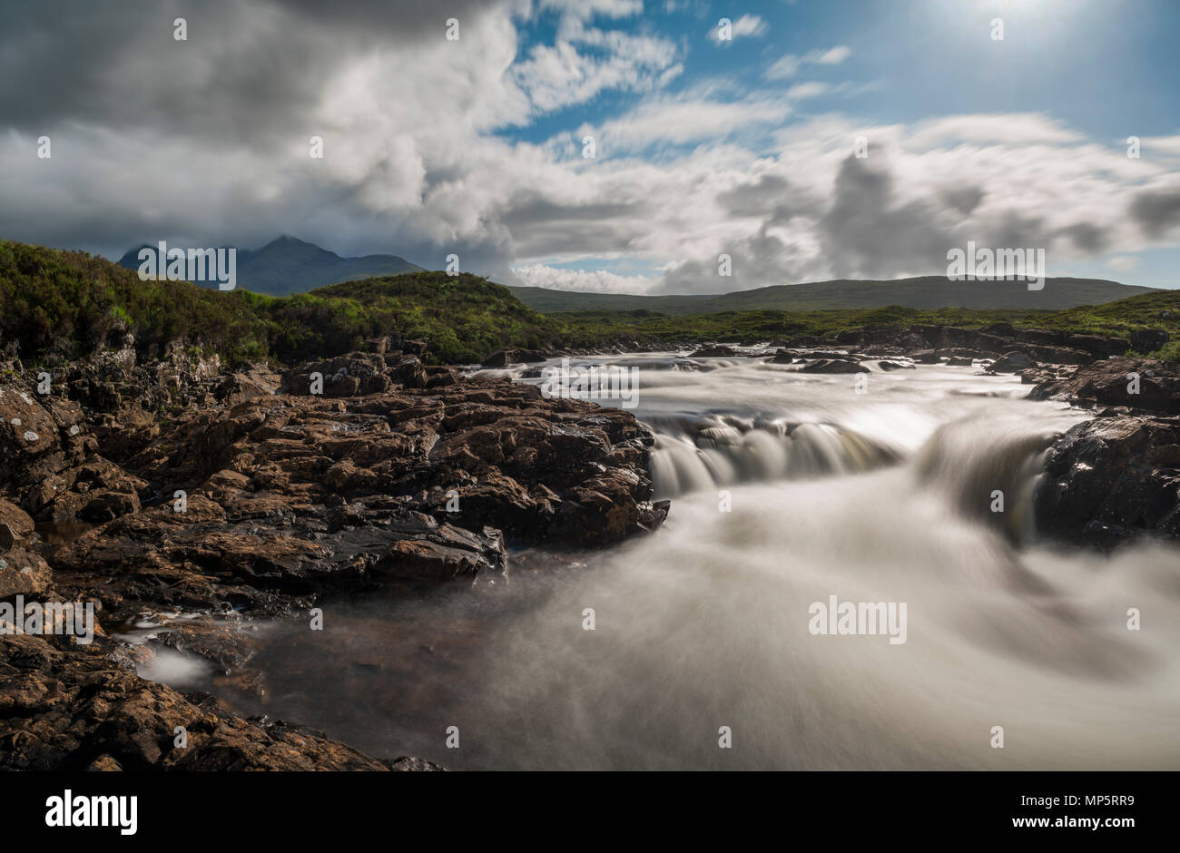 Scottish highlands - River Sligachan, Isle of Skye, Scotland, UK with the Black Cuillin mountains in the distance - Stock Image