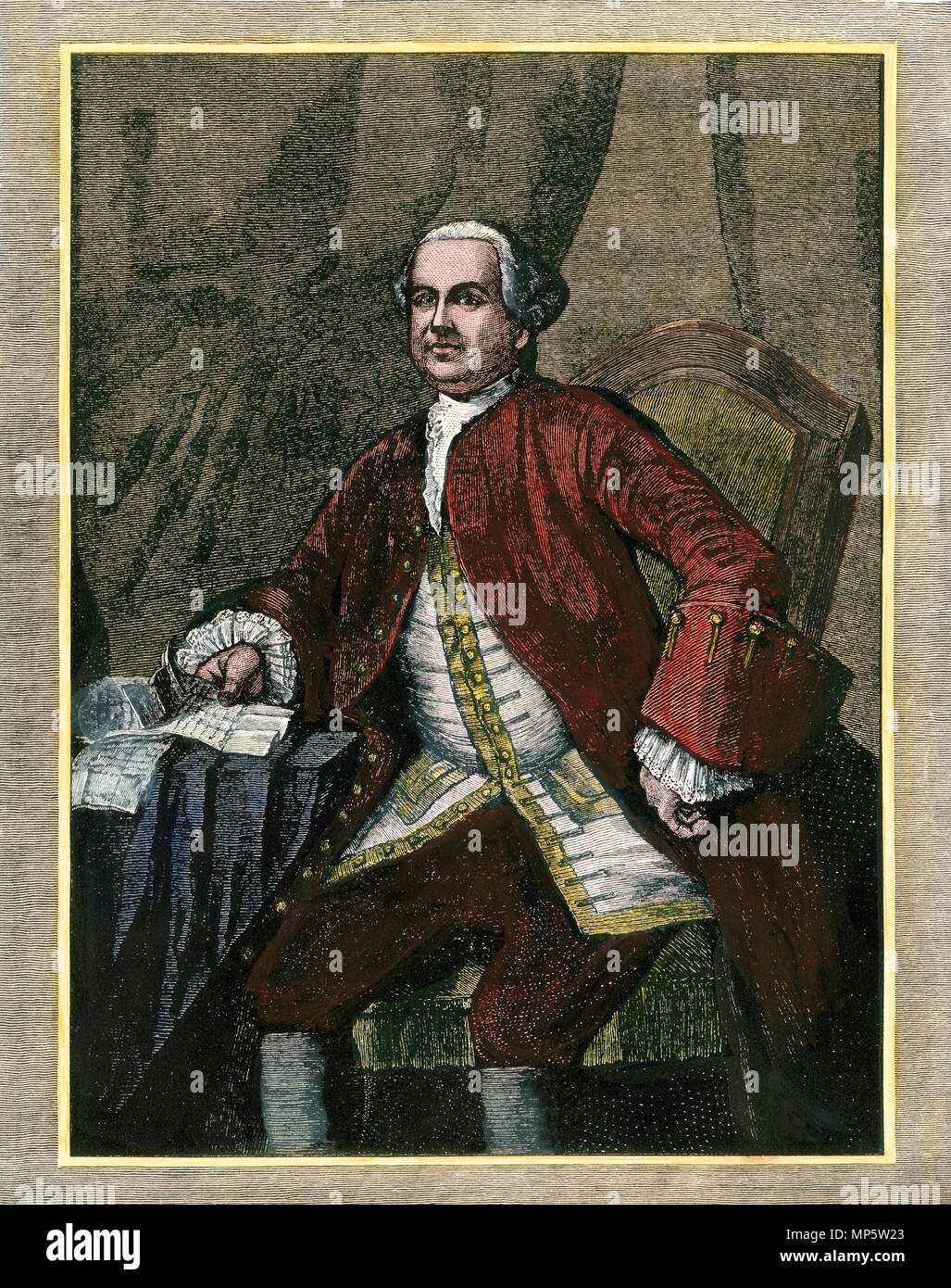 William Phipps, Royal Governor of Massachusetts Bay Colony, 1600s. Hand-colored woodcut - Stock Image