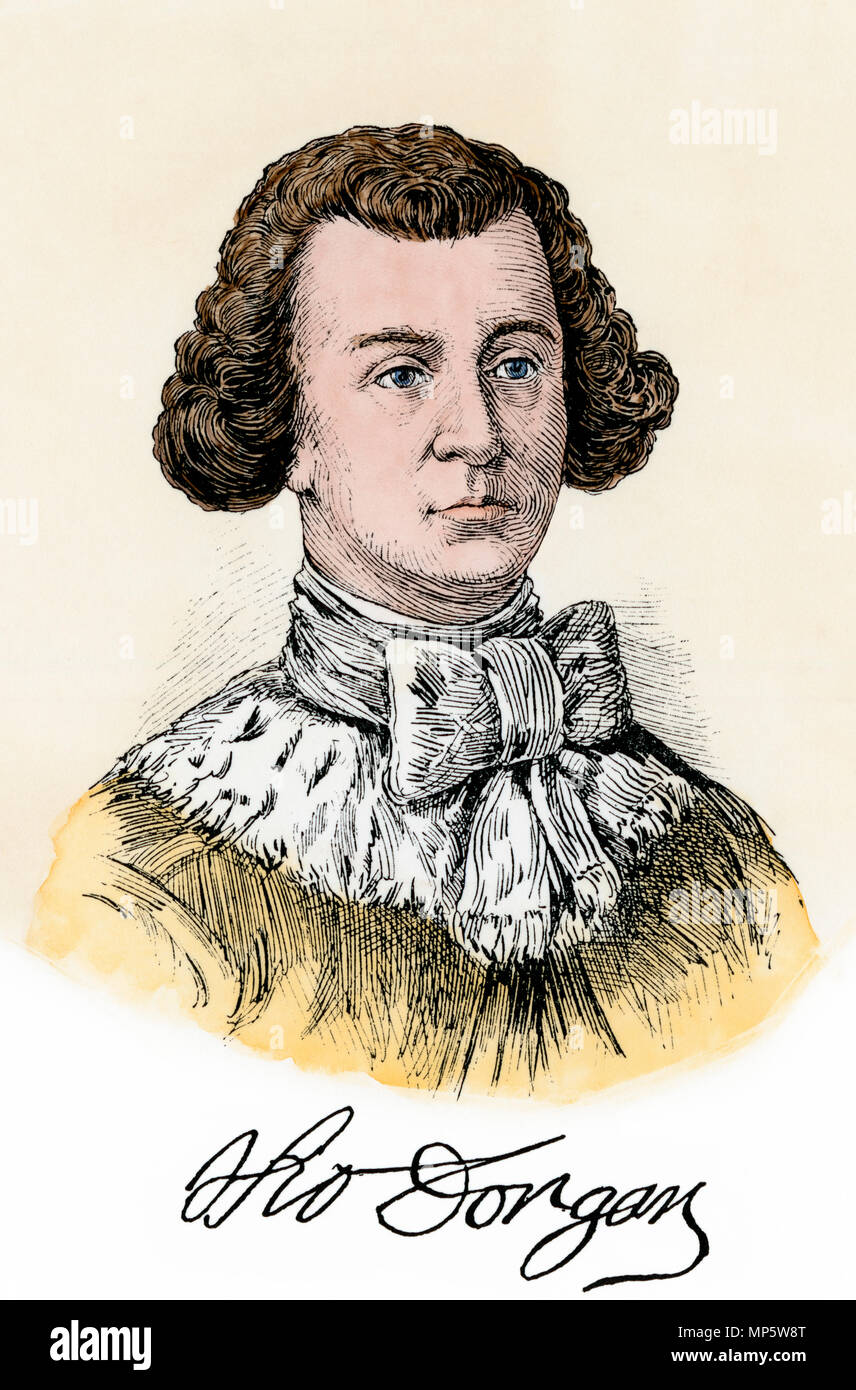 Thomas Dongan, Earl of Limerick, British colonial administrator of New York. Hand-colored woodcut - Stock Image