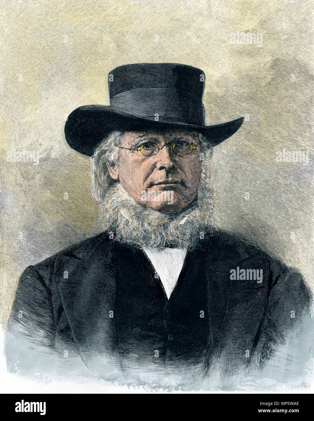 Horace Greeley. Hand-colored woodcut - Stock Image