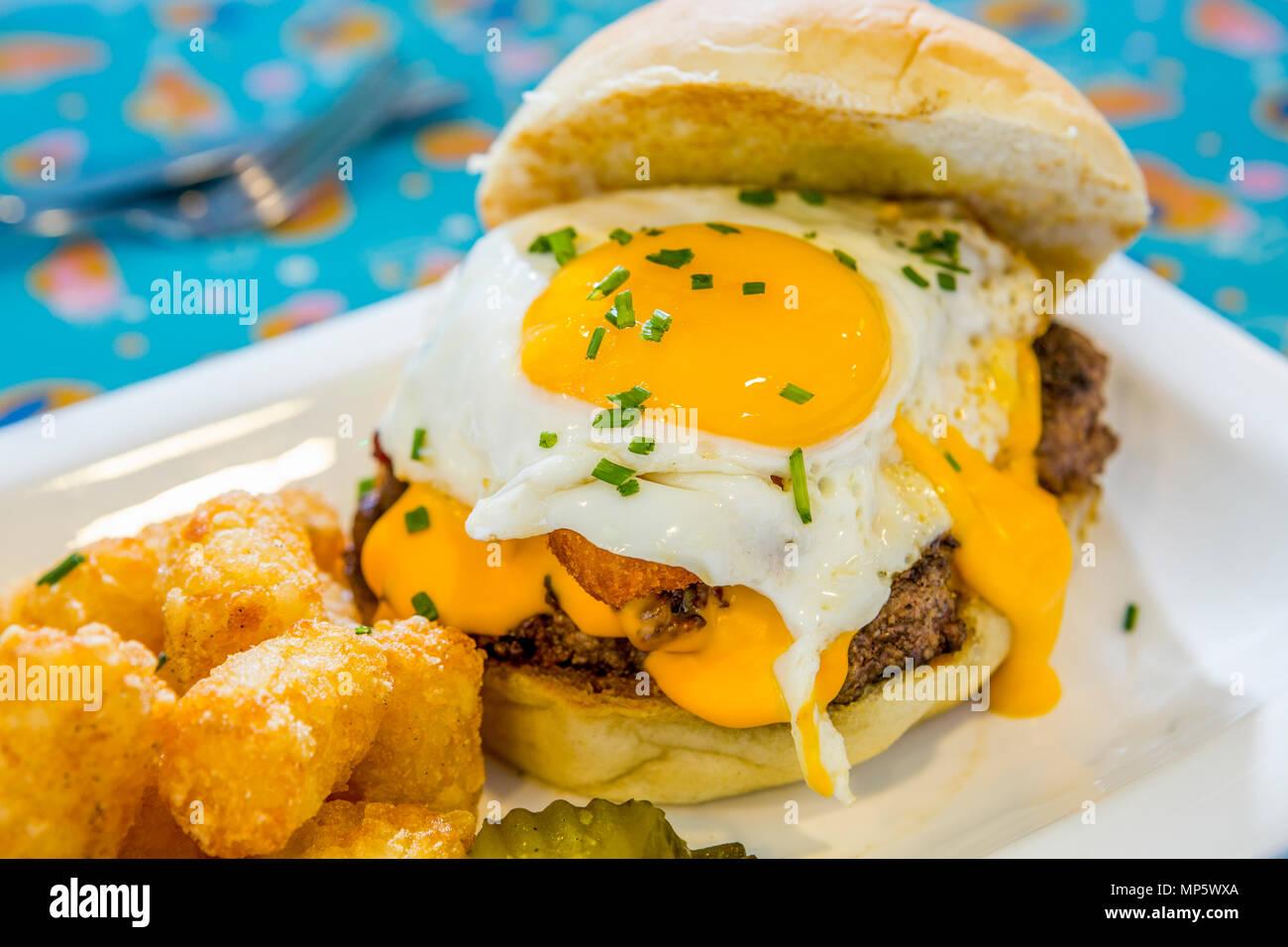 Dazed Breakafast Burger with egg close up - Stock Image