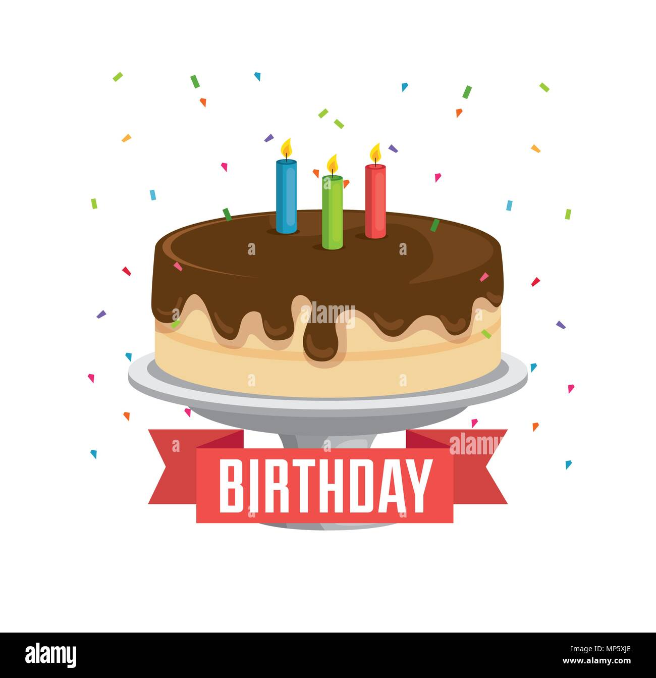 Happy Birthday Card With Sweet Cake And Ribbon Frame Stock Vector