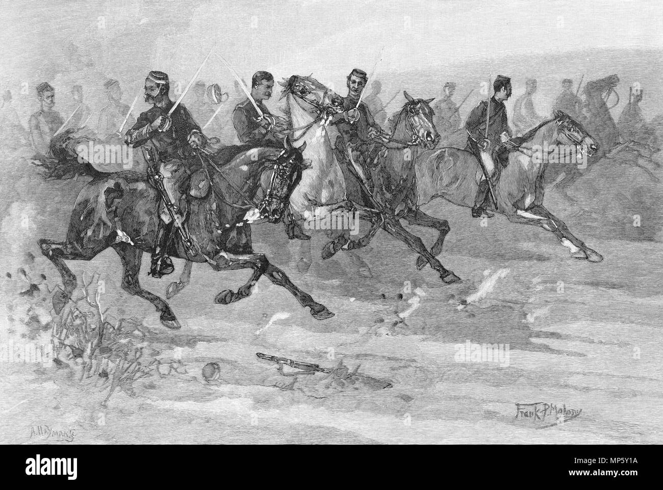 Engraving of the Charge of the New Zealand Cavalry at the Battle of Orakau. From the Picturesque Atlas of Australasia Vol 3, 1886 - Stock Image