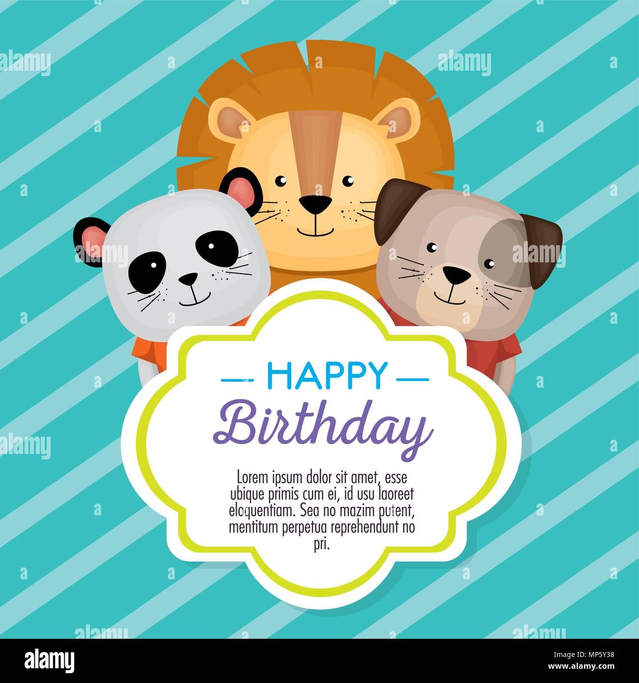 Happy Birthday Card With Cute Animals Stock Vector Art
