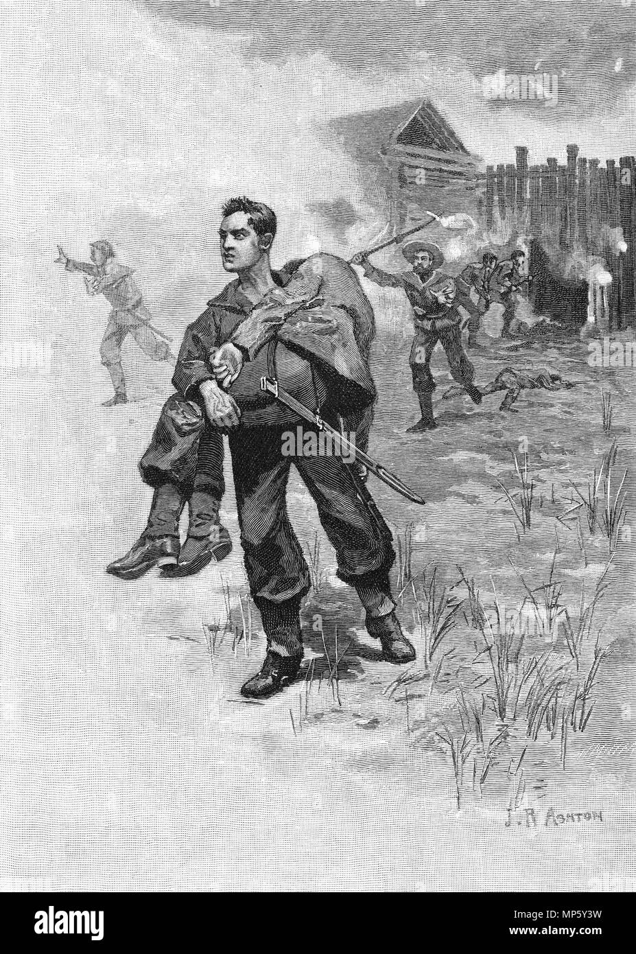 Engraving of a colonial soldier carrying a comrade to safety during the seige of the Gate Pa in the New Zealand Land Wars. From the Picturesque Atlas of Australasia Vol 3, 1886 - Stock Image