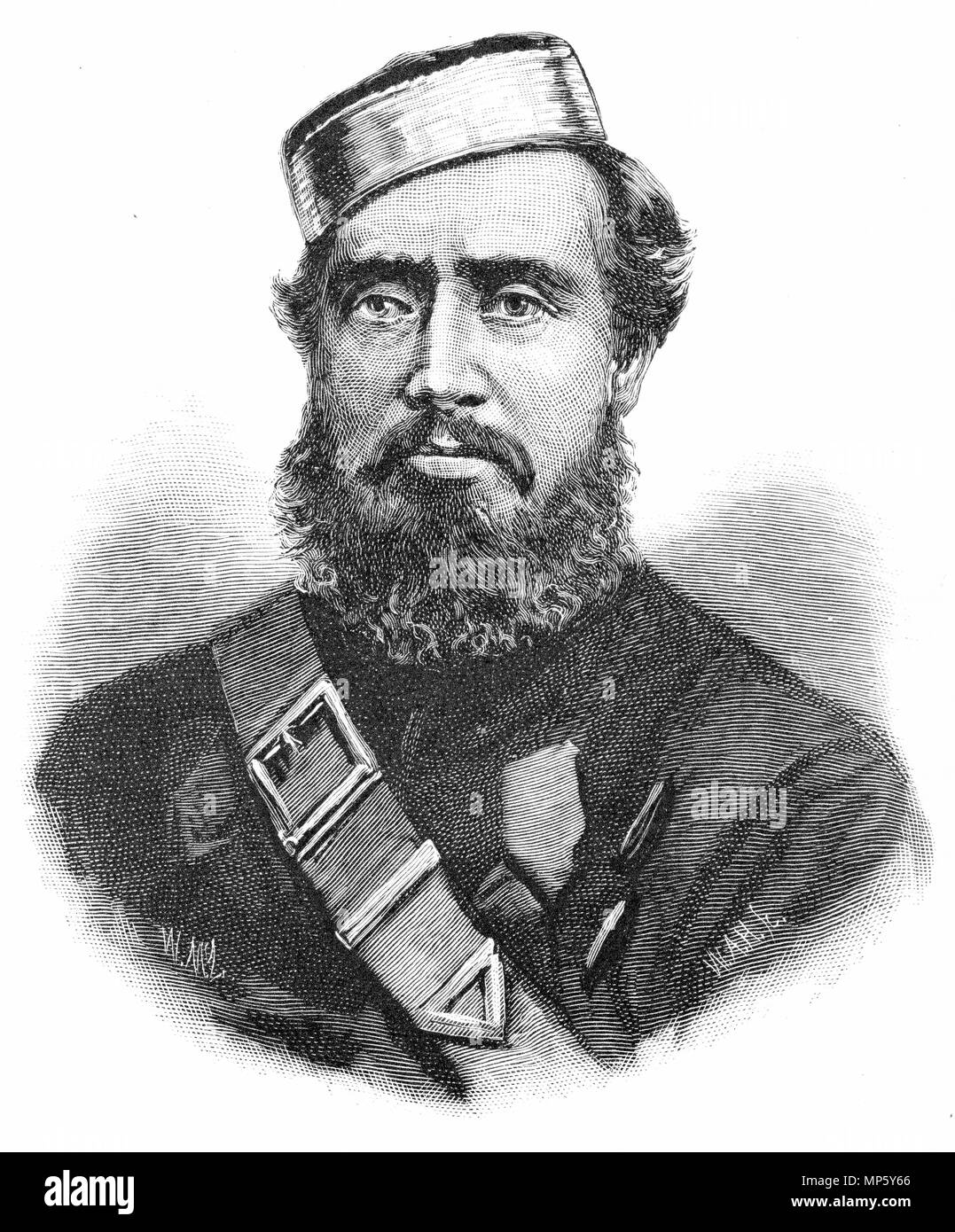 Engraving of Major Ropata, a colonial leader of the armies fighting in the New Zealand Land Wars of the 1860s. From the Picturesque Atlas of Australasia Vol 3, 1886 - Stock Image