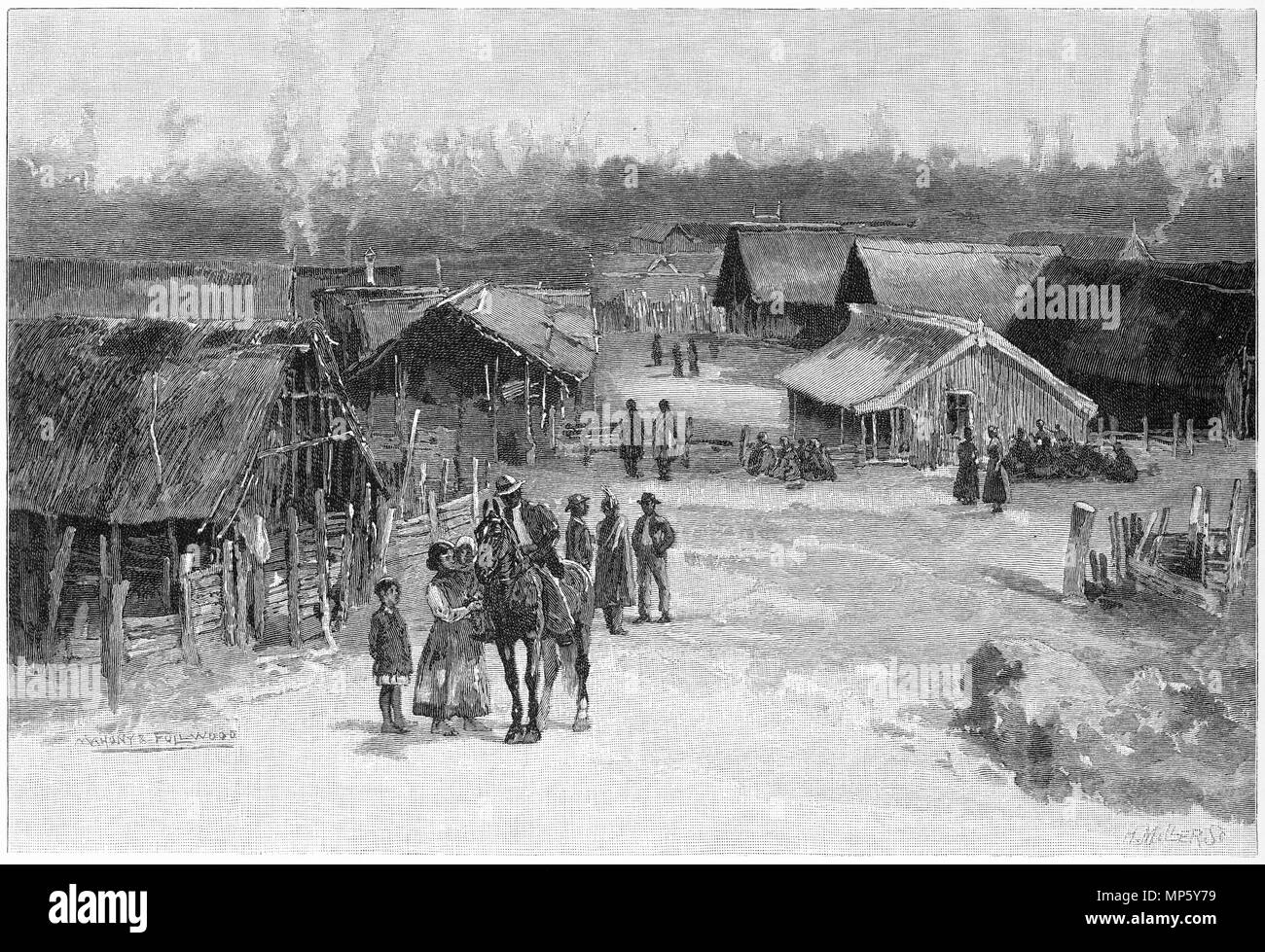 Engraving of the Maori settlement at Parihaka, famous during the New Zealand Land Wars. From the Picturesque Atlas of Australasia Vol 3, 1886 - Stock Image