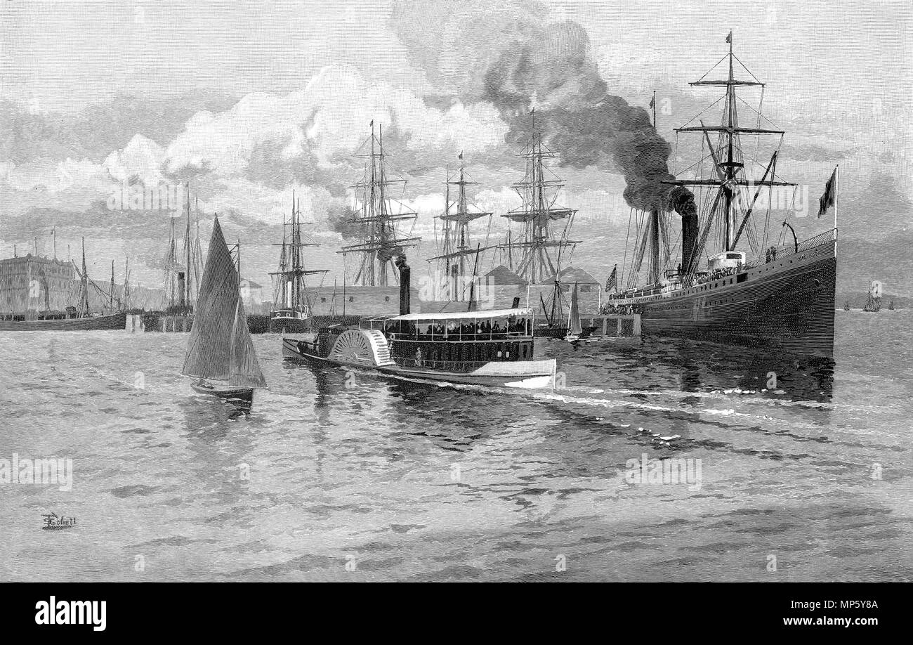 Engraving of the mail steamer sailing in Auckland, New Zealand. From the Picturesque Atlas of Australasia Vol 3, 1886 - Stock Image