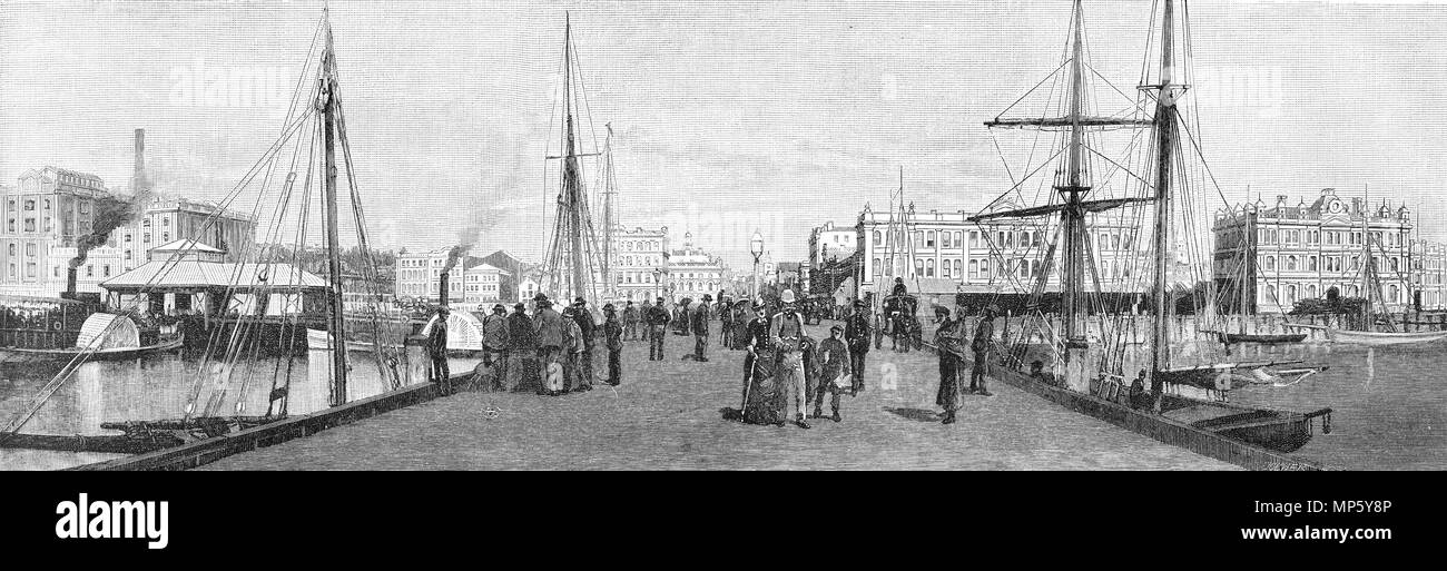 Engraving of the Queen Street Wharf, Auckland, New Zealand. From the Picturesque Atlas of Australasia Vol 3, 1886 - Stock Image